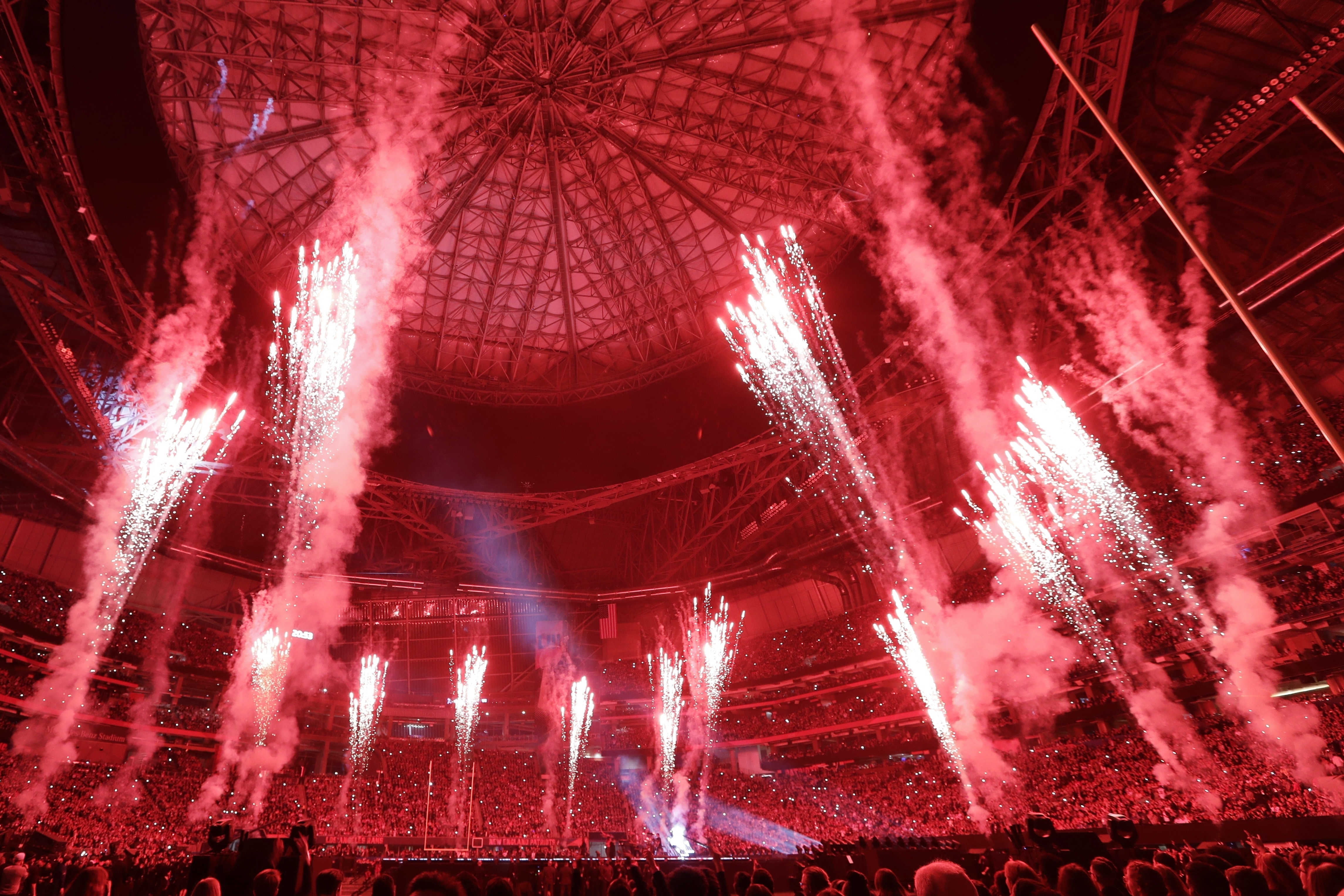 "<div class=""meta image-caption""><div class=""origin-logo origin-image ap""><span>AP</span></div><span class=""caption-text"">Fireworks go off during halftime of the NFL Super Bowl 53 football game between the Los Angeles Rams and the New England Patriots Sunday, Feb. 3, 2019, in Atlanta. (AP Photo/Frank Franklin II)</span></div>"