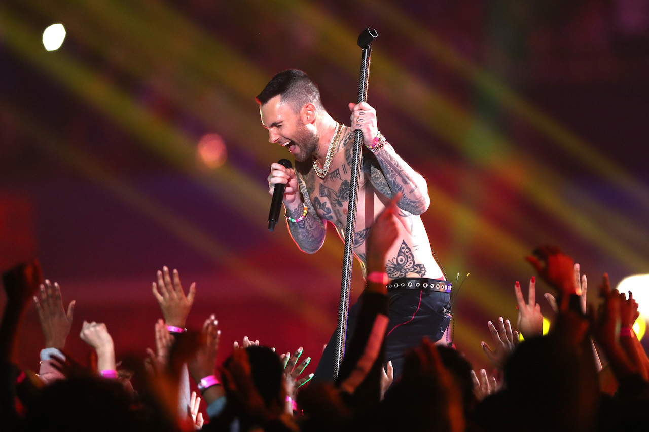 "<div class=""meta image-caption""><div class=""origin-logo origin-image kgo""><span>kgo</span></div><span class=""caption-text"">Adam Levine and Maroon 5 perform during the Pepsi Super Bowl LIII Halftime Show at Mercedes-Benz Stadium on February 3, 2019, in Atlanta, Georgia. (Jamie Squire/Getty Images))</span></div>"