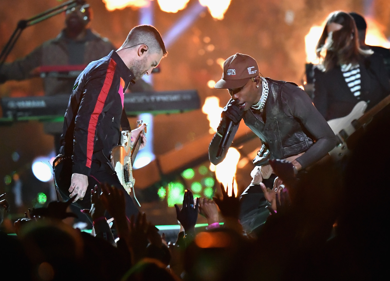 "<div class=""meta image-caption""><div class=""origin-logo origin-image kgo""><span>kgo</span></div><span class=""caption-text"">Adam Levine of Maroon 5 and Travis Scott perform during the Pepsi Super Bowl LIII Halftime Show at Mercedes-Benz Stadium on February 3, 2019, in Atlanta, Georgia. (Jeff Kravitz/FilmMagic)</span></div>"