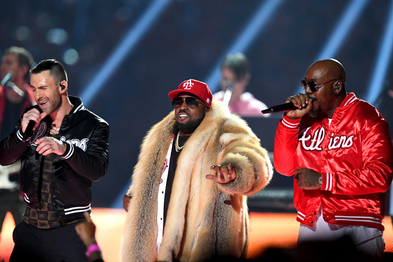"<div class=""meta image-caption""><div class=""origin-logo origin-image kgo""><span>kgo</span></div><span class=""caption-text"">Adam Levine of Maroon 5, Big Boi, and Sleepy Brown perform during the Pepsi Super Bowl LIII Halftime Show at Mercedes-Benz Stadium on February 3, 2019, in Atlanta, Georgia. (Kevin Winter/Getty Images)</span></div>"