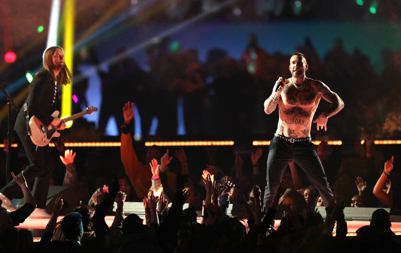 "<div class=""meta image-caption""><div class=""origin-logo origin-image kgo""><span>kgo</span></div><span class=""caption-text"">James Valentine and Adam Levine of Maroon 5 perform during the Pepsi Super Bowl LIII Halftime Show at Mercedes-Benz Stadium on February 03, 2019, in Atlanta, Georgia. (Patrick Smith/Getty Images)</span></div>"