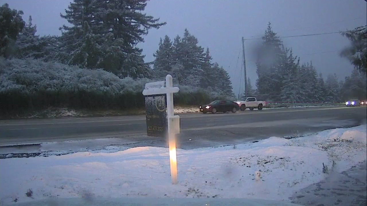 <div class='meta'><div class='origin-logo' data-origin='none'></div><span class='caption-text' data-credit='KGO-TV'>Snow falls along Hwy. 17 in the Santa Cruz Mountains on Tuesday, Feb. 5, 2019.</span></div>