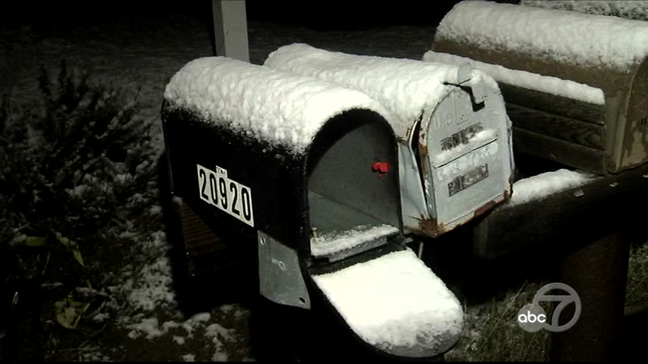 <div class='meta'><div class='origin-logo' data-origin='none'></div><span class='caption-text' data-credit='KGO-TV'>Snow falls on mailboxes in Livermore, Calif. on Tuesday, Feb. 5, 2019.</span></div>