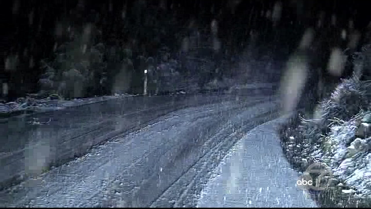 <div class='meta'><div class='origin-logo' data-origin='none'></div><span class='caption-text' data-credit='KGO-TV'>Snow falls on the road in Livermore, Calif. on Tuesday, Feb. 5, 2019.</span></div>