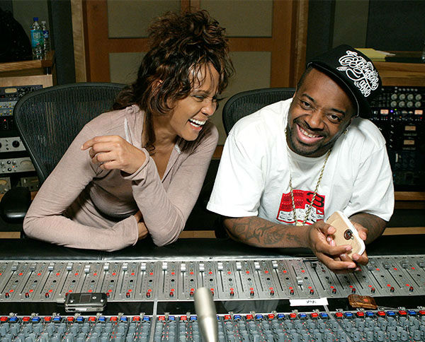 """<div class=""""meta image-caption""""><div class=""""origin-logo origin-image none""""><span>none</span></div><span class=""""caption-text"""">May 2007: Houston in studio with Jermaine Dupri recording her last single """"Never Give Up"""" in California. (Photo/AP Photo)</span></div>"""