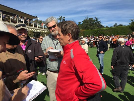"<div class=""meta image-caption""><div class=""origin-logo origin-image none""><span>none</span></div><span class=""caption-text"">49ers legend, Steve Young, is also a rookie at AT&T Pebble Beach National Pro-Am on Tuesday, Feb. 10, 2015. (ABC7 News/Mike Shumann)</span></div>"