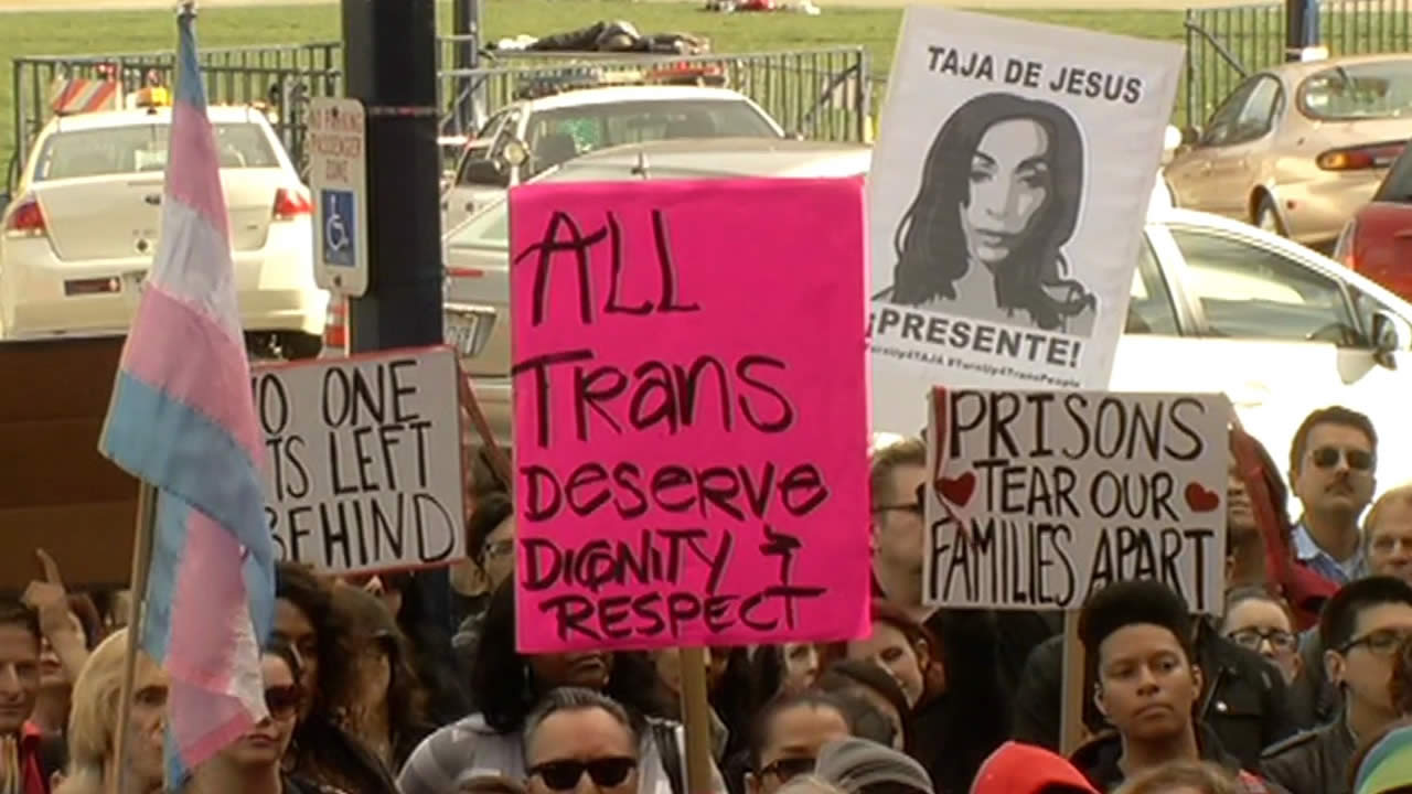 Hundreds gathered to remember Taja DeJesus and to rally to end violence against transgender people at San Francisco City Hall on Feb. 10, 2015.