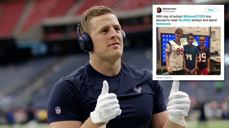 designer fashion 48aa8 8f372 JJ Watt gifts student a jersey after 99th school day tweet goes viral