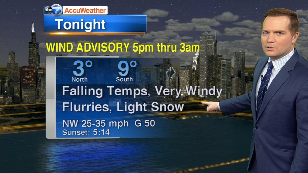 Chicago Accuweather Windy Flurries And Fast Falling Temps Abc7chicago Com