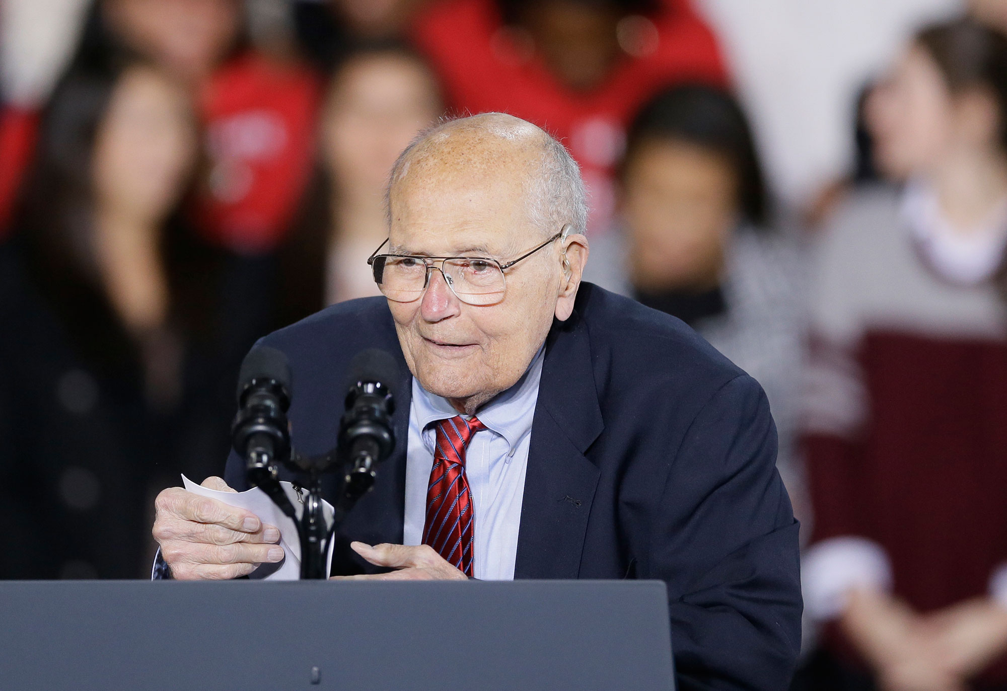 <div class='meta'><div class='origin-logo' data-origin='none'></div><span class='caption-text' data-credit='Carlos Osorio/AP Photo'>Former U.S. Rep. John Dingell, the longest-serving member of Congress in American history, died Feb. 7, 2019, at age 92.</span></div>