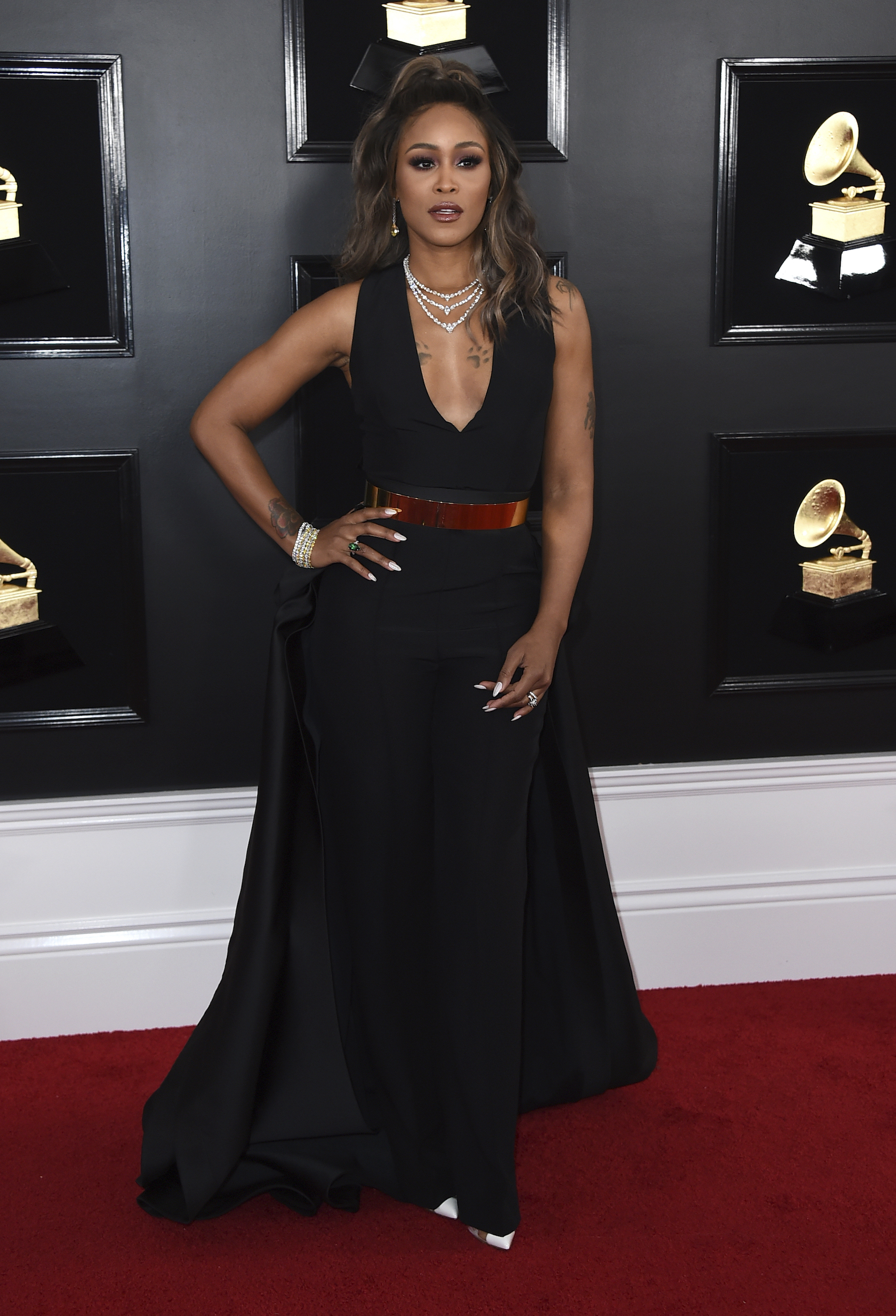 <div class='meta'><div class='origin-logo' data-origin='AP'></div><span class='caption-text' data-credit='Jordan Strauss/Invision/AP'>Eve arrives at the 61st annual Grammy Awards at the Staples Center on Sunday, Feb. 10, 2019, in Los Angeles.</span></div>