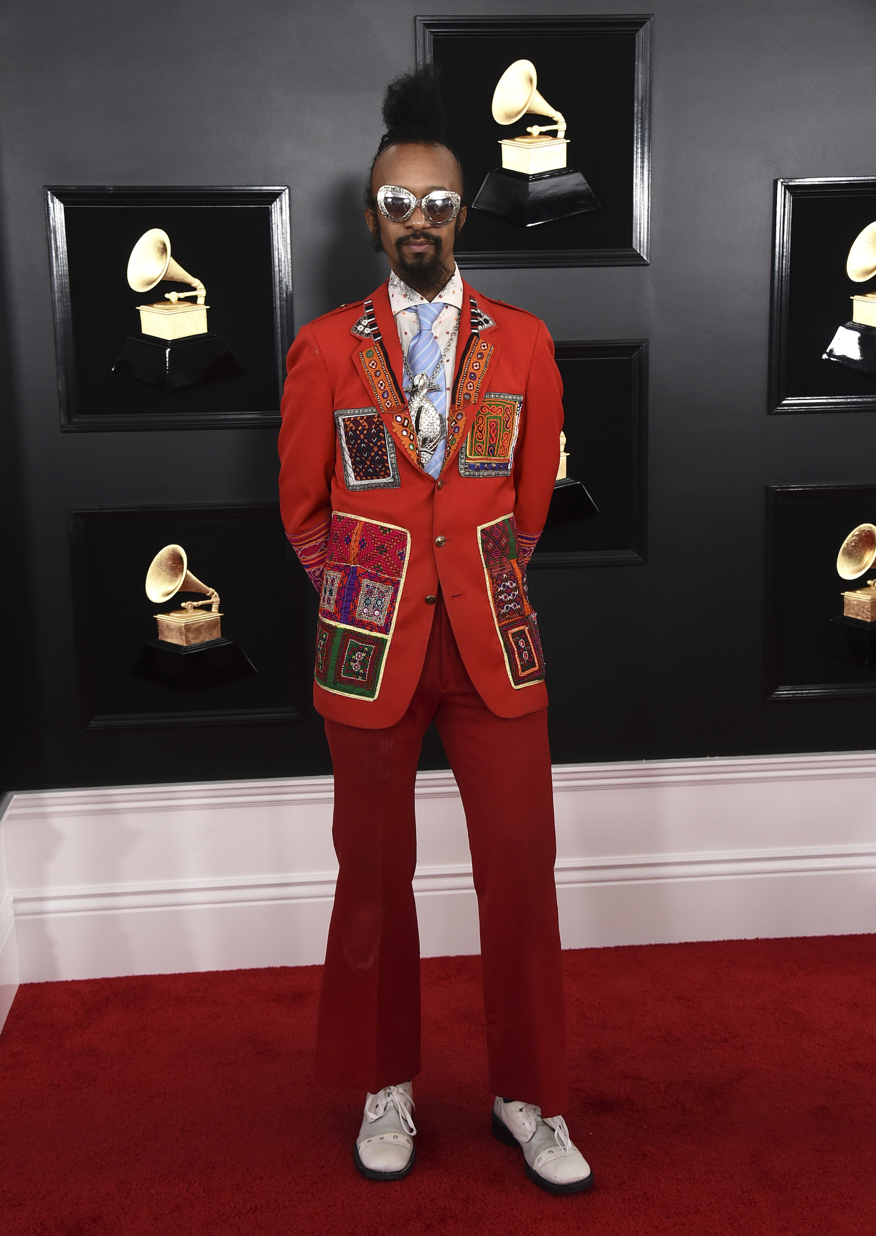 <div class='meta'><div class='origin-logo' data-origin='AP'></div><span class='caption-text' data-credit='Jordan Strauss/Invision/AP'>Fantastic Negrito arrives at the 61st annual Grammy Awards at the Staples Center on Sunday, Feb. 10, 2019, in Los Angeles.</span></div>