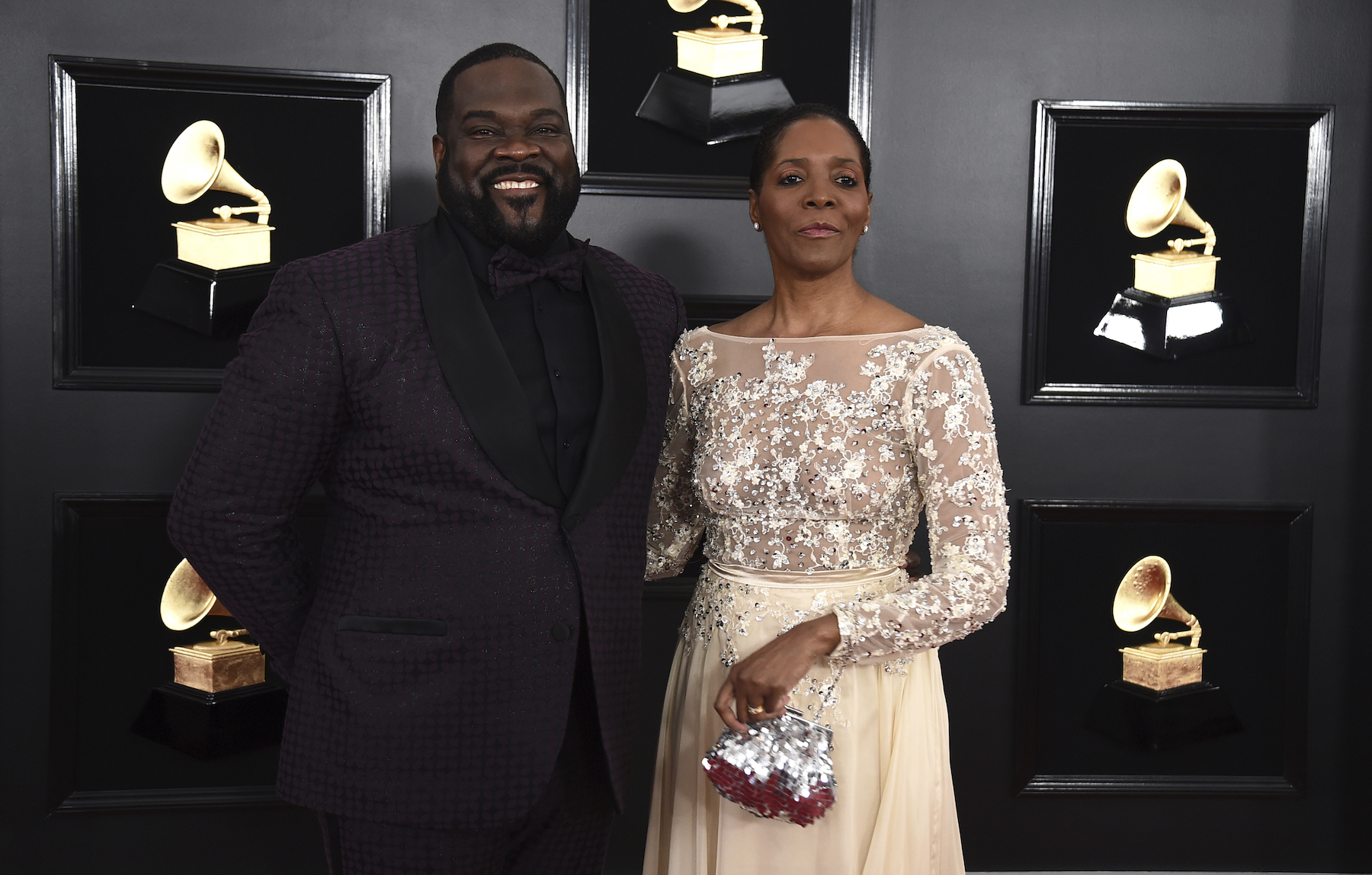 <div class='meta'><div class='origin-logo' data-origin='AP'></div><span class='caption-text' data-credit='Jordan Strauss/Invision/AP'>Phillip Boykin, left, and Felicia Richardson Boykin arrive at the 61st annual Grammy Awards at the Staples Center on Sunday, Feb. 10, 2019, in Los Angeles.</span></div>