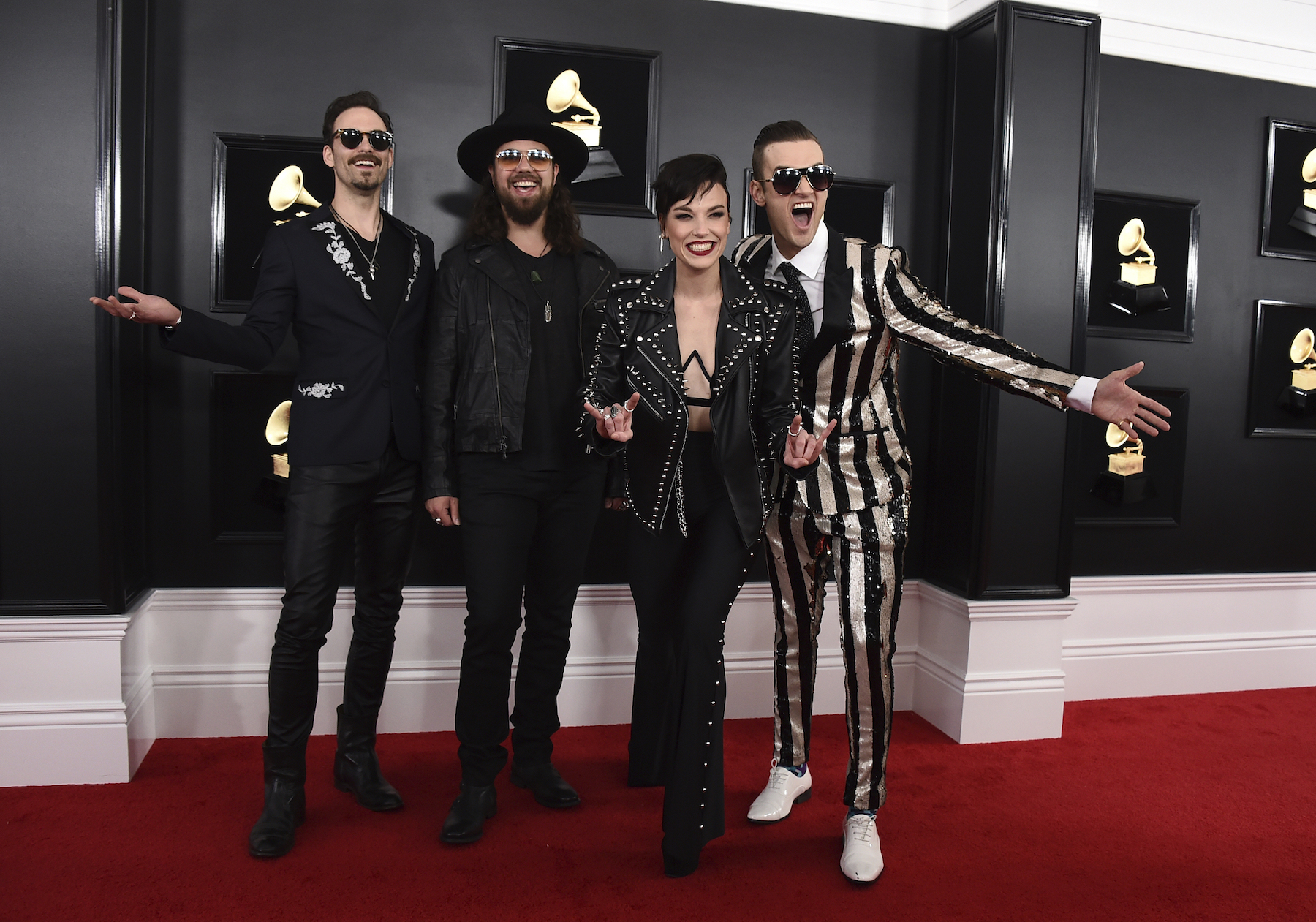 "<div class=""meta image-caption""><div class=""origin-logo origin-image ap""><span>AP</span></div><span class=""caption-text"">Josh Smith, from left, Joe Hottinger, Lzzy Hale, and Arejay Hale of Halestorm arrive at the 61st annual Grammy Awards at the Staples Center on Sunday, Feb. 10, 2019. (Jordan Strauss/Invision/AP)</span></div>"