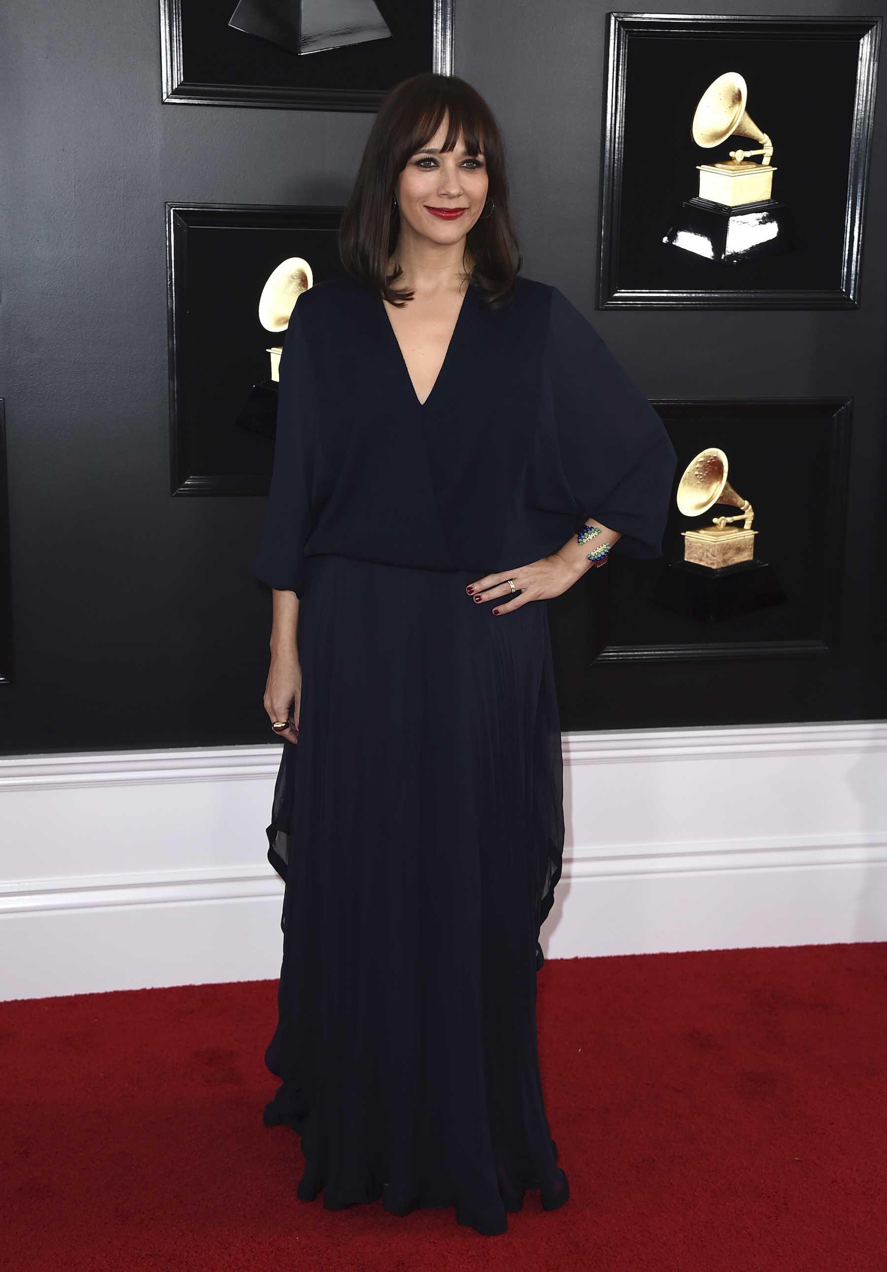 "<div class=""meta image-caption""><div class=""origin-logo origin-image ap""><span>AP</span></div><span class=""caption-text"">Rashida Jones arrives at the 61st annual Grammy Awards at the Staples Center on Sunday, Feb. 10, 2019, in Los Angeles. (Jordan Strauss/Invision/AP)</span></div>"