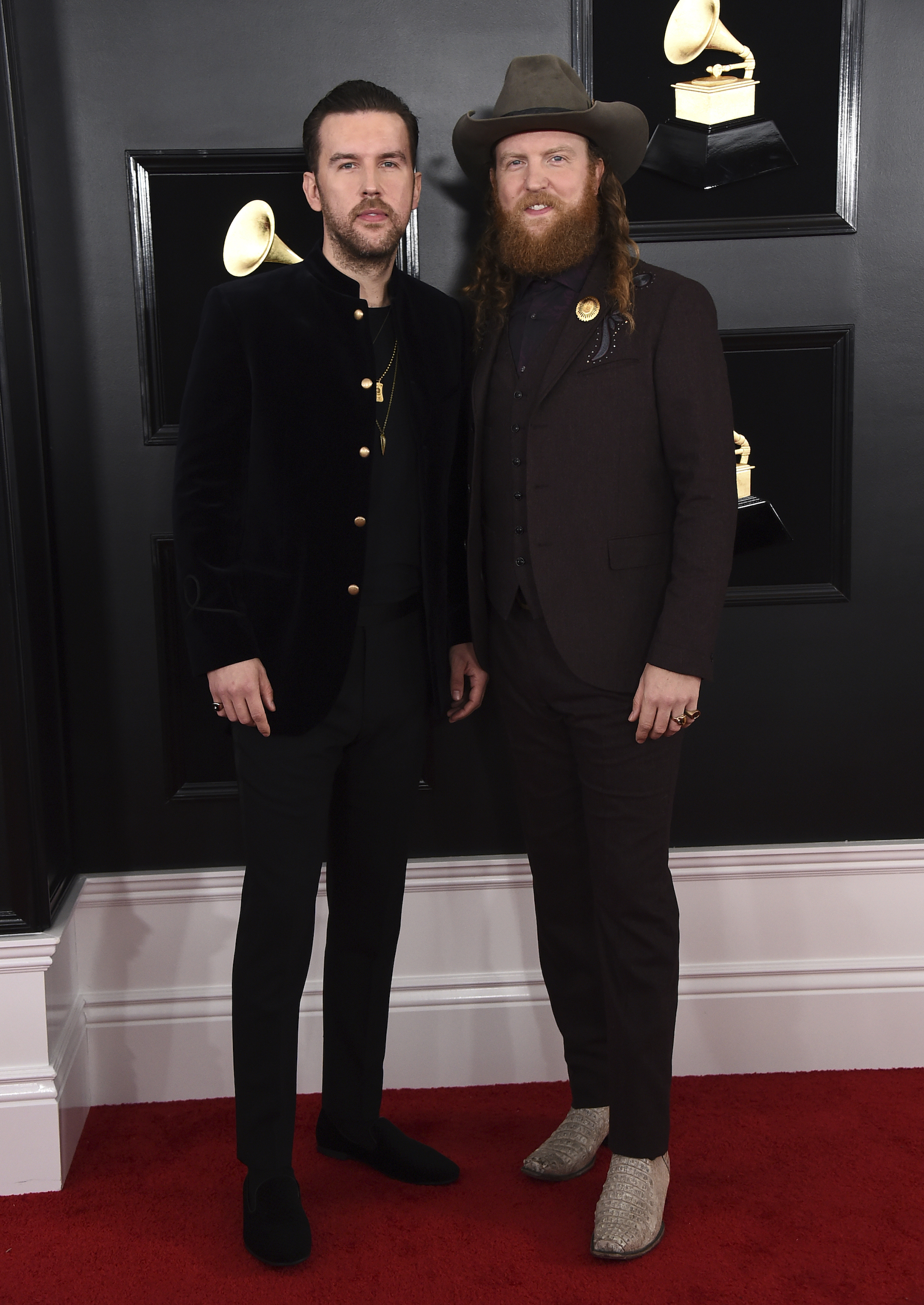 <div class='meta'><div class='origin-logo' data-origin='AP'></div><span class='caption-text' data-credit='Jordan Strauss/Invision/AP'>T.J. Osborne, left, and John Osborne of Brothers Osborne arrive at the 61st annual Grammy Awards at the Staples Center on Sunday, Feb. 10, 2019, in Los Angeles.</span></div>