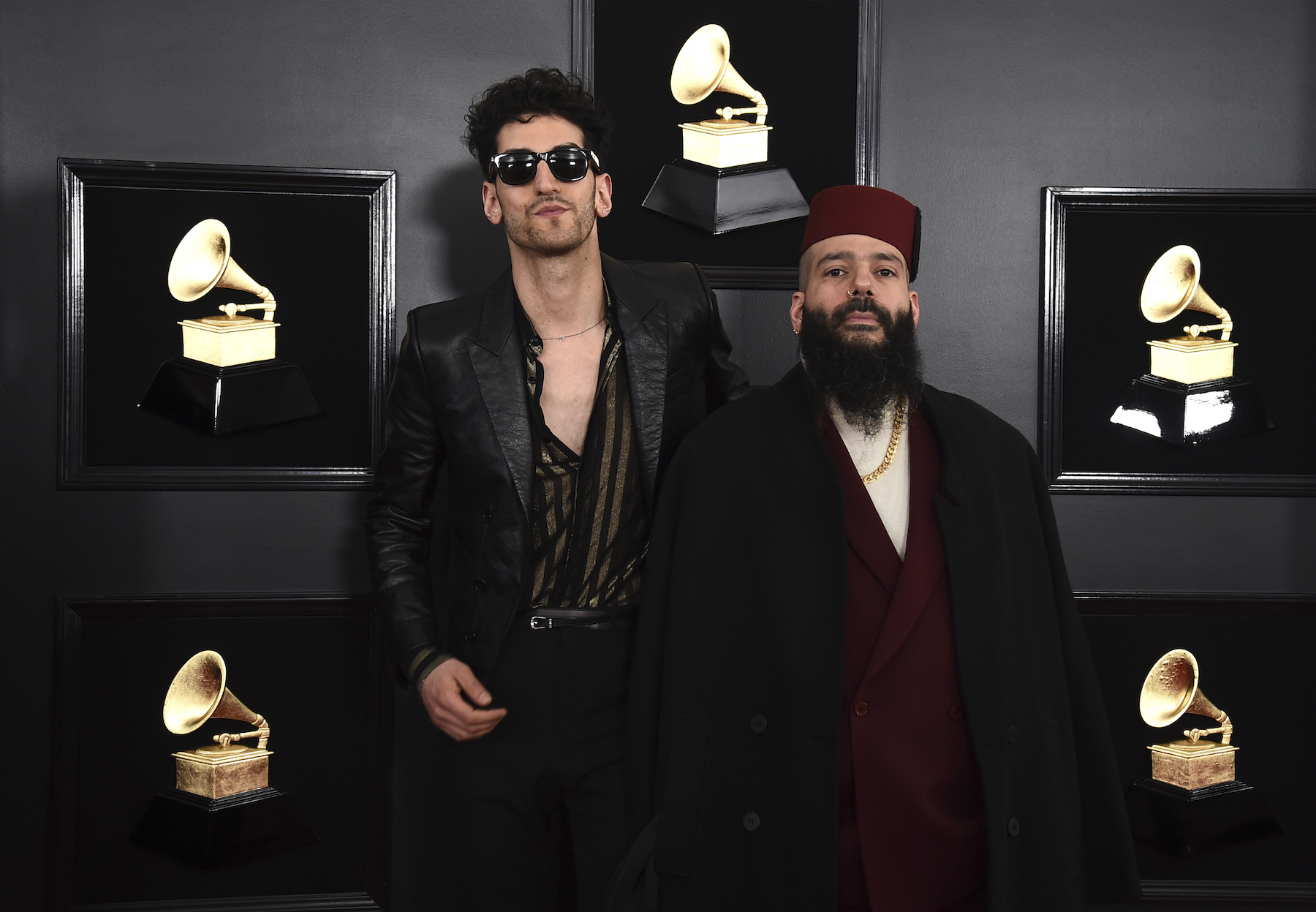 "<div class=""meta image-caption""><div class=""origin-logo origin-image ap""><span>AP</span></div><span class=""caption-text"">David Macklovitch, left, and Patrick Gemayel of ""Chromeo"" arrive at the 61st annual Grammy Awards at the Staples Center on Sunday, Feb. 10, 2019, in Los Angeles. (Jordan Strauss/Invision/AP)</span></div>"