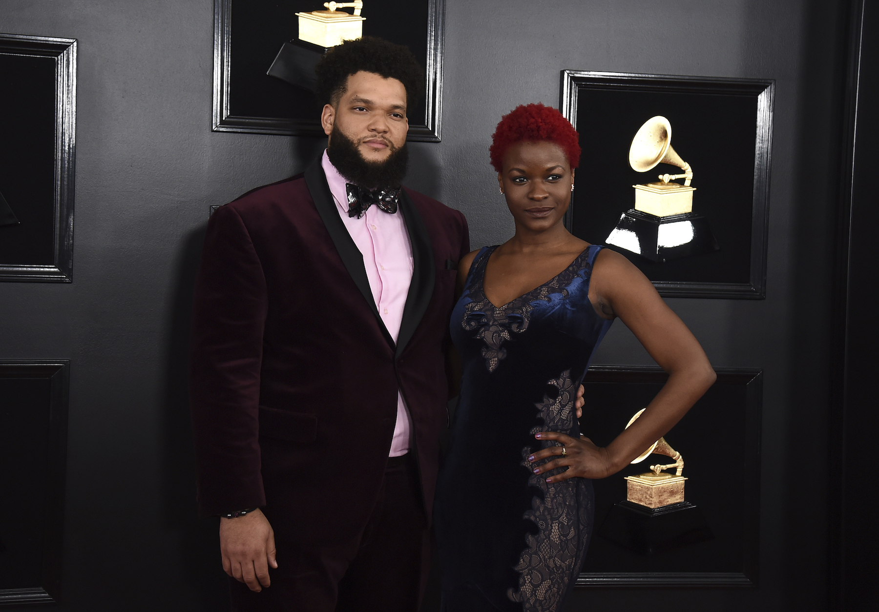 <div class='meta'><div class='origin-logo' data-origin='AP'></div><span class='caption-text' data-credit='Jordan Strauss/Invision/AP'>Kris Johnson, left, and Lulu Fall arrive at the 61st annual Grammy Awards at the Staples Center on Sunday, Feb. 10, 2019, in Los Angeles.</span></div>