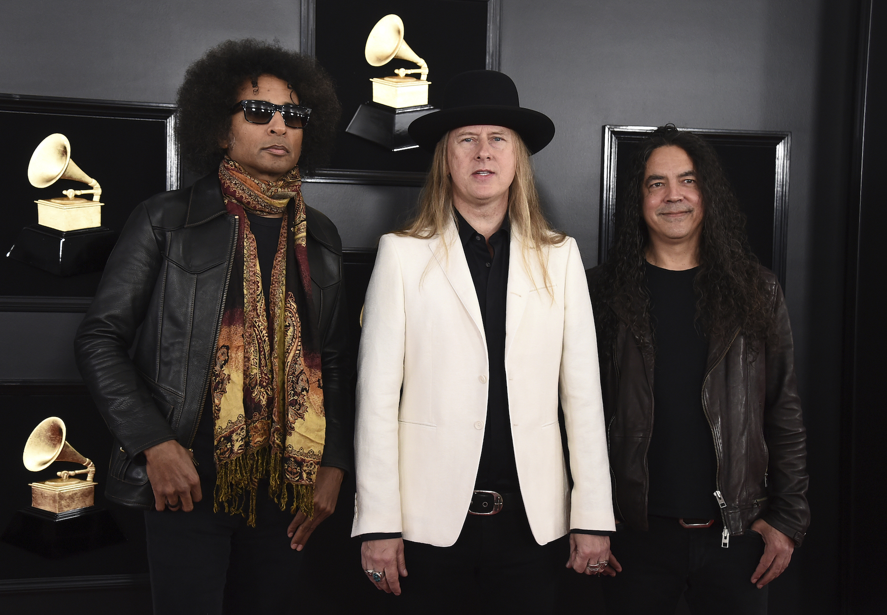 <div class='meta'><div class='origin-logo' data-origin='AP'></div><span class='caption-text' data-credit='Jordan Strauss/Invision/AP'>William DuVall, from left, Jerry Cantrell and Mike Inez of Alice in Chains arrive at the 61st annual Grammy Awards at the Staples Center on Sunday, Feb. 10, 2019, in Los Angeles.</span></div>
