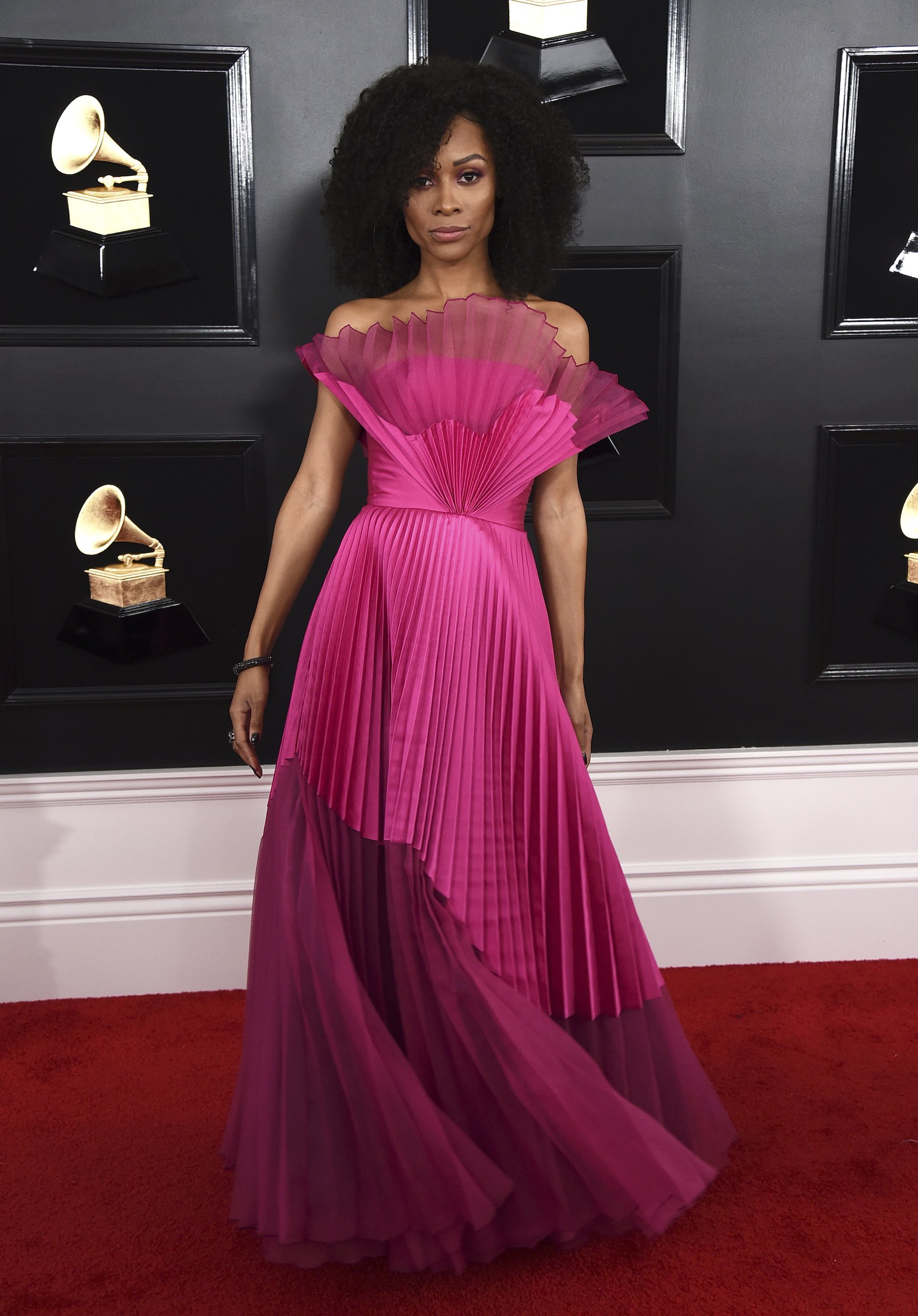 <div class='meta'><div class='origin-logo' data-origin='AP'></div><span class='caption-text' data-credit='Jordan Strauss/Invision/AP'>Zuri Hall arrives at the 61st annual Grammy Awards at the Staples Center on Sunday, Feb. 10, 2019, in Los Angeles.</span></div>