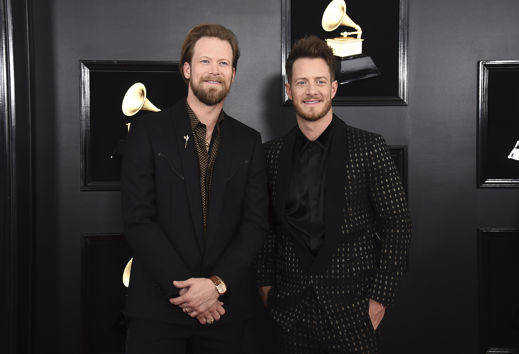 "<div class=""meta image-caption""><div class=""origin-logo origin-image ap""><span>AP</span></div><span class=""caption-text"">Brian Kelley, left, and Tyler Hubbard of Florida Georgia Line arrive at the 61st annual Grammy Awards at the Staples Center on Sunday, Feb. 10, 2019, in Los Angeles. (Jordan Strauss/Invision/AP)</span></div>"