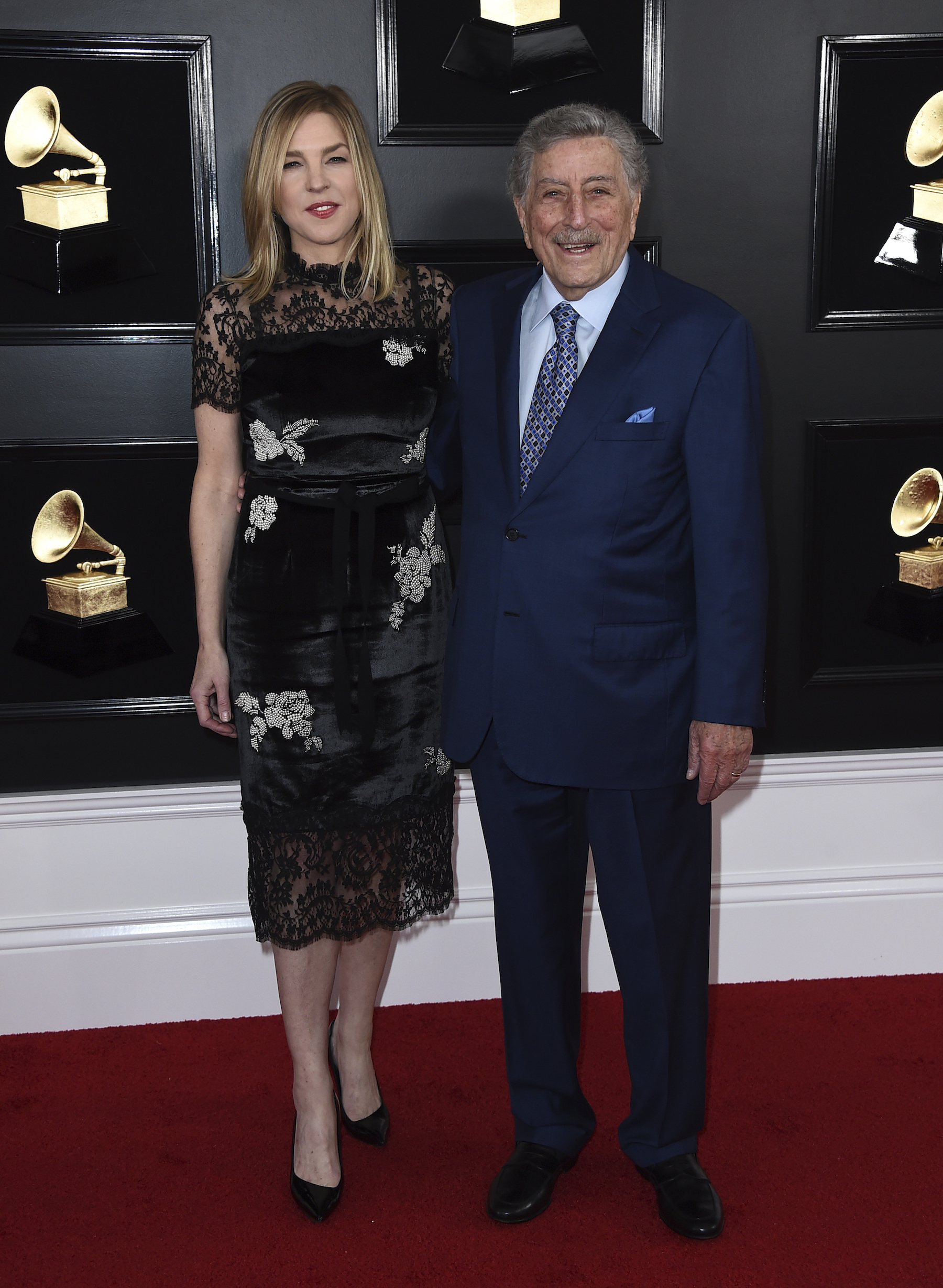 <div class='meta'><div class='origin-logo' data-origin='AP'></div><span class='caption-text' data-credit='Jordan Strauss/Invision/AP'>Diana Krall, left, and Tony Bennett arrive at the 61st annual Grammy Awards at the Staples Center on Sunday, Feb. 10, 2019, in Los Angeles.</span></div>