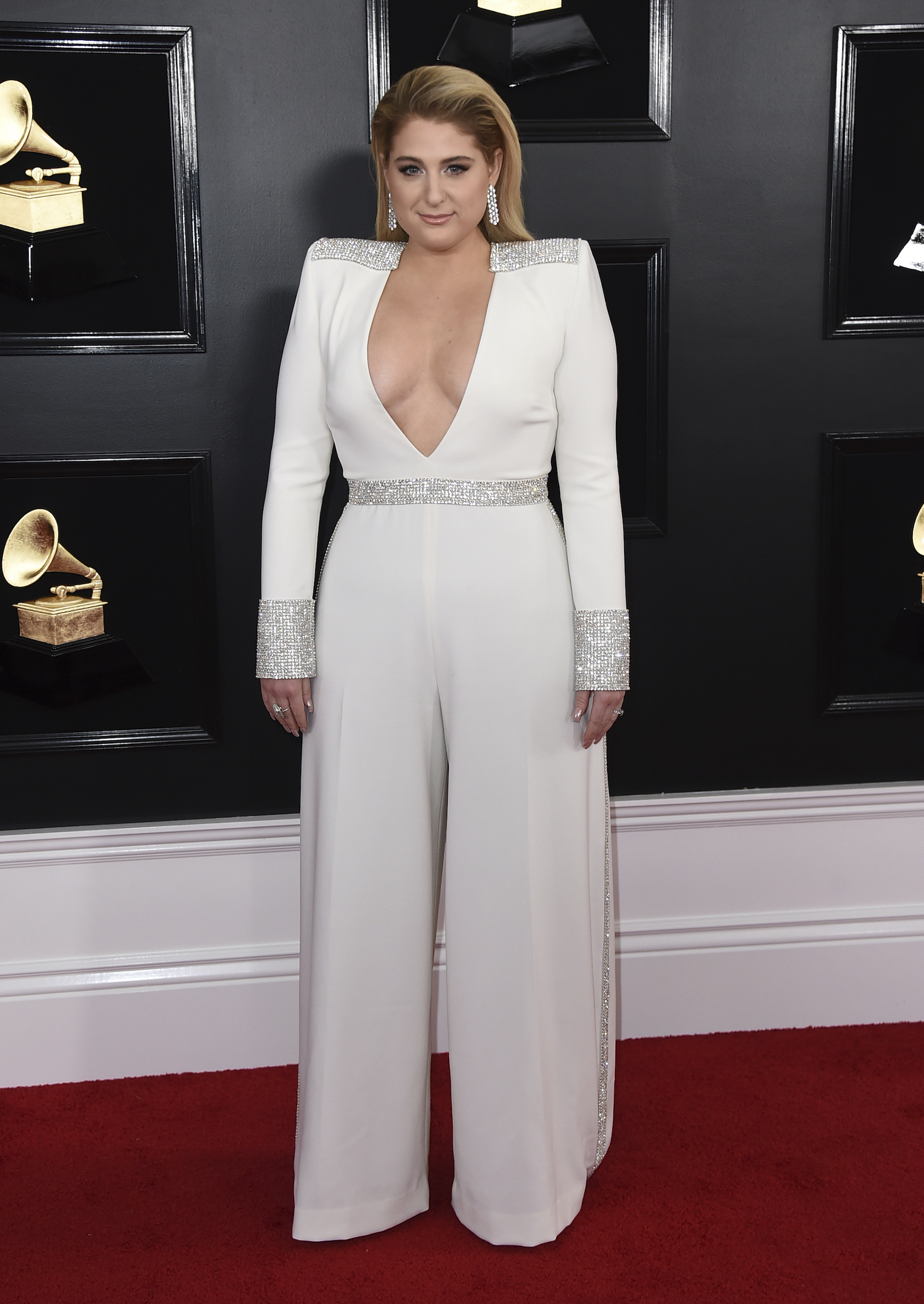 <div class='meta'><div class='origin-logo' data-origin='AP'></div><span class='caption-text' data-credit='Jordan Strauss/Invision/AP'>Meghan Trainor arrives at the 61st annual Grammy Awards at the Staples Center on Sunday, Feb. 10, 2019, in Los Angeles.</span></div>