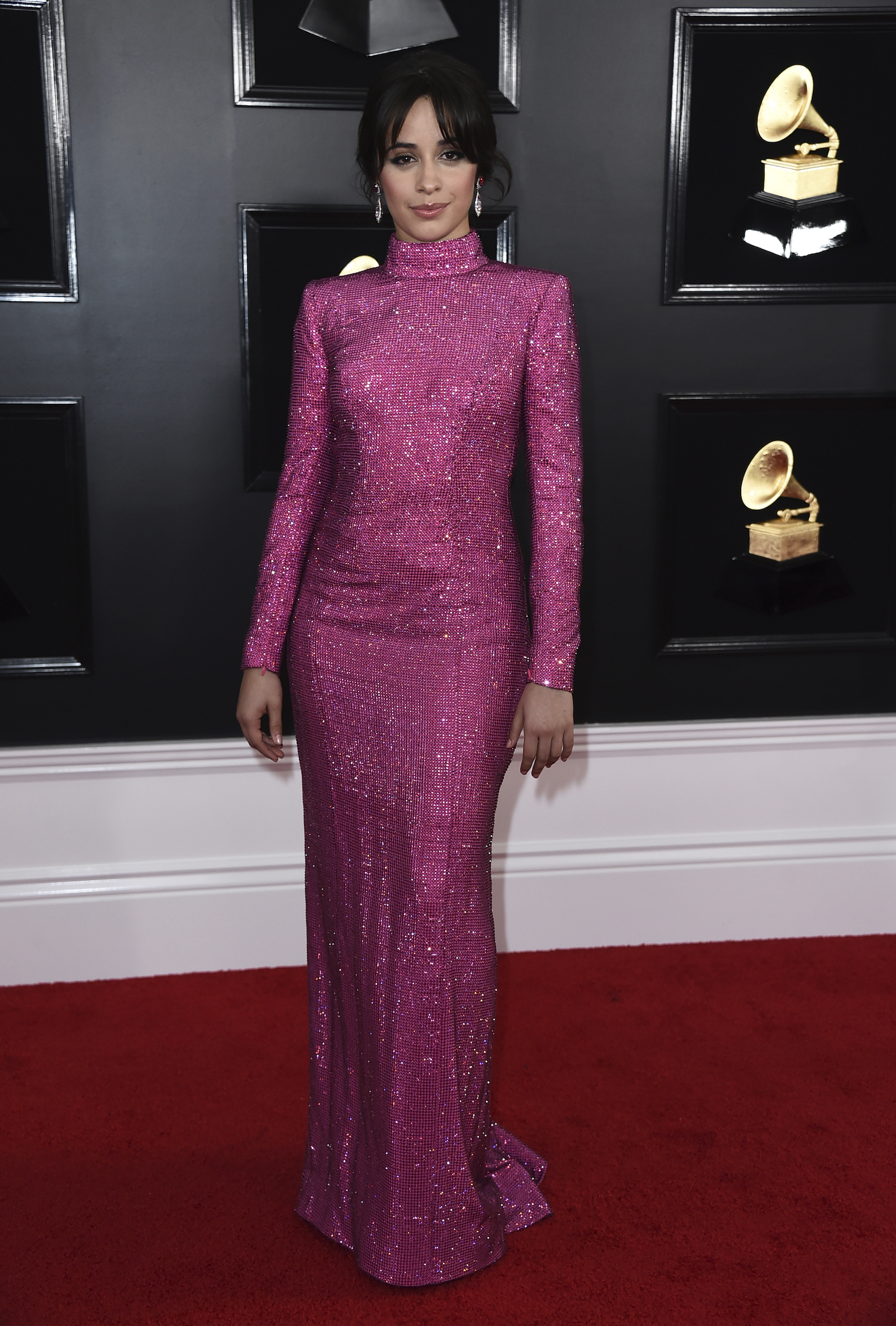 <div class='meta'><div class='origin-logo' data-origin='AP'></div><span class='caption-text' data-credit='Jordan Strauss/Invision/AP'>Camila Cabello arrives at the 61st annual Grammy Awards at the Staples Center on Sunday, Feb. 10, 2019, in Los Angeles.</span></div>