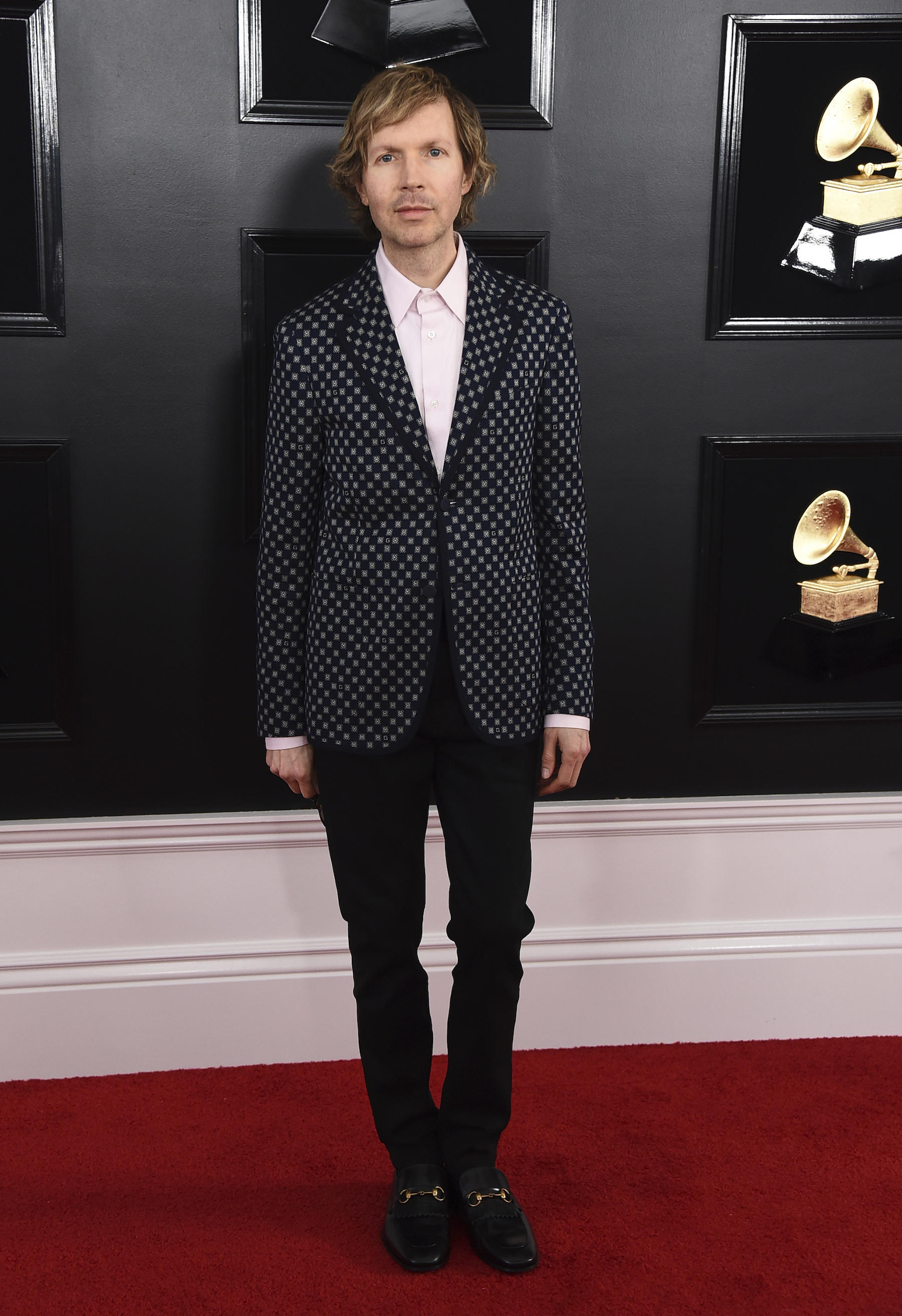 "<div class=""meta image-caption""><div class=""origin-logo origin-image ap""><span>AP</span></div><span class=""caption-text"">Beck arrives at the 61st annual Grammy Awards at the Staples Center on Sunday, Feb. 10, 2019, in Los Angeles. (Jordan Strauss/Invision/AP)</span></div>"
