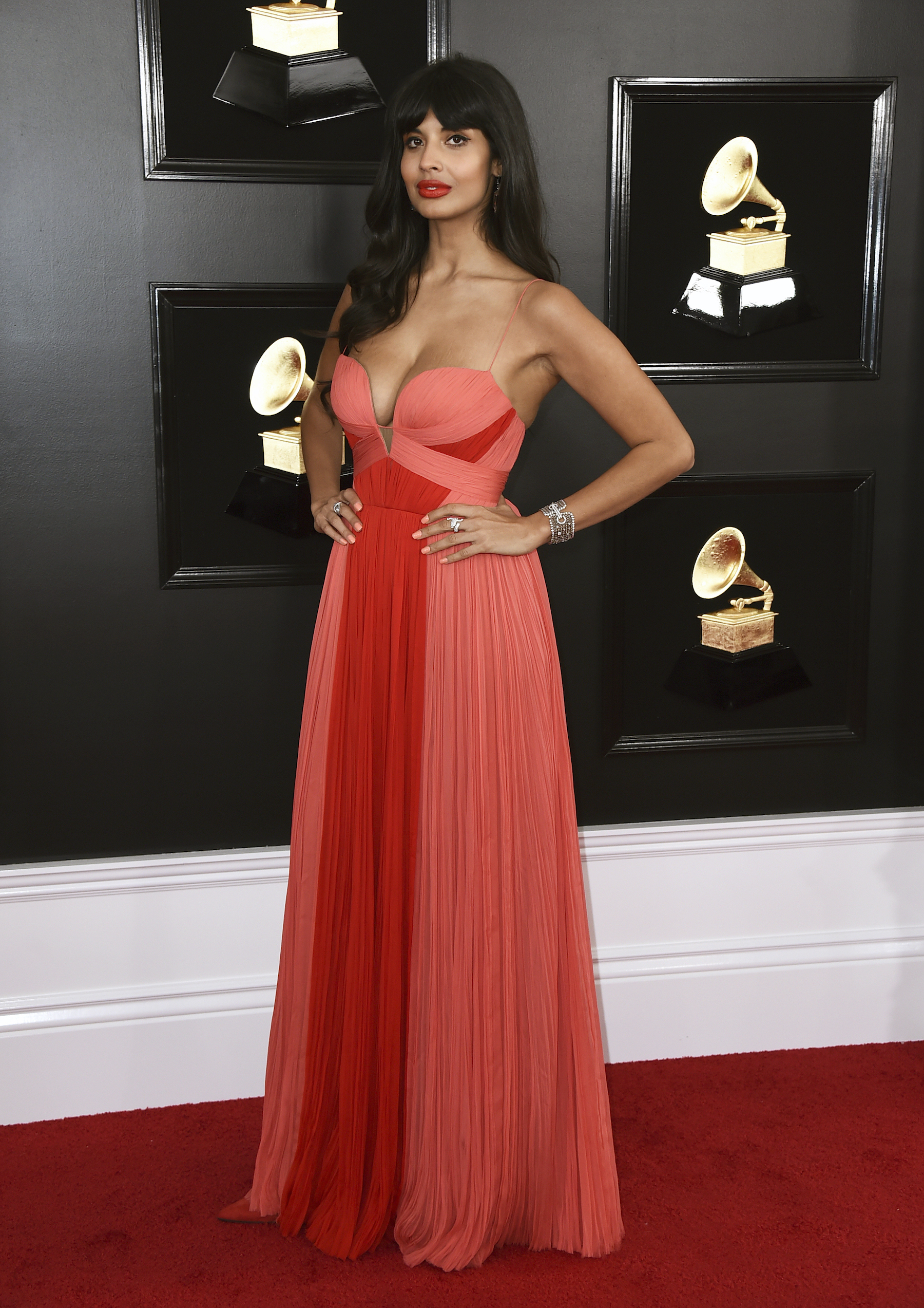 <div class='meta'><div class='origin-logo' data-origin='AP'></div><span class='caption-text' data-credit='Jordan Strauss/Invision/AP'>Jameela Jamil arrives at the 61st annual Grammy Awards at the Staples Center on Sunday, Feb. 10, 2019, in Los Angeles.</span></div>
