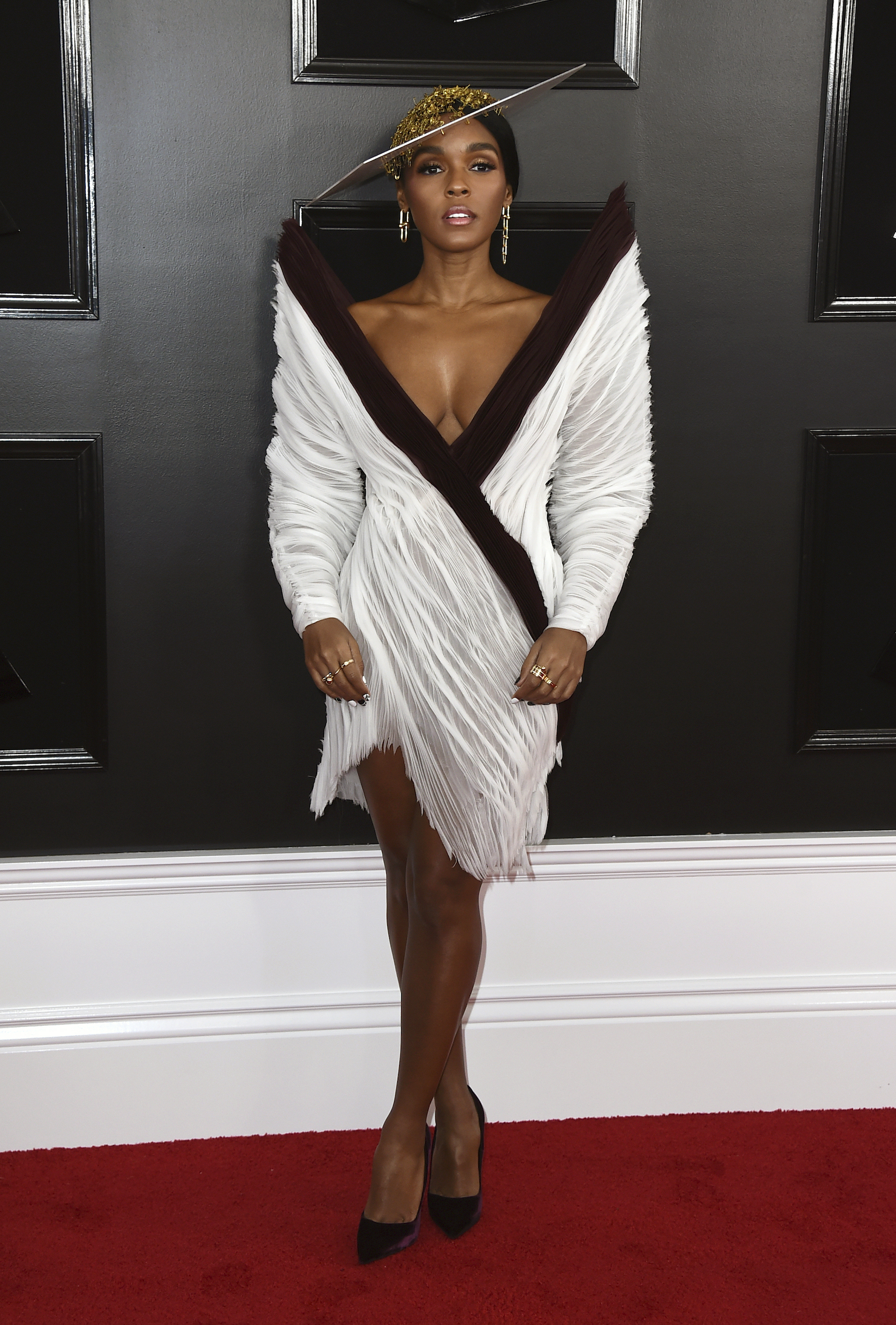 "<div class=""meta image-caption""><div class=""origin-logo origin-image ap""><span>AP</span></div><span class=""caption-text"">Janelle Monae arrives at the 61st annual Grammy Awards at the Staples Center on Sunday, Feb. 10, 2019, in Los Angeles. (Jordan Strauss/Invision/AP)</span></div>"