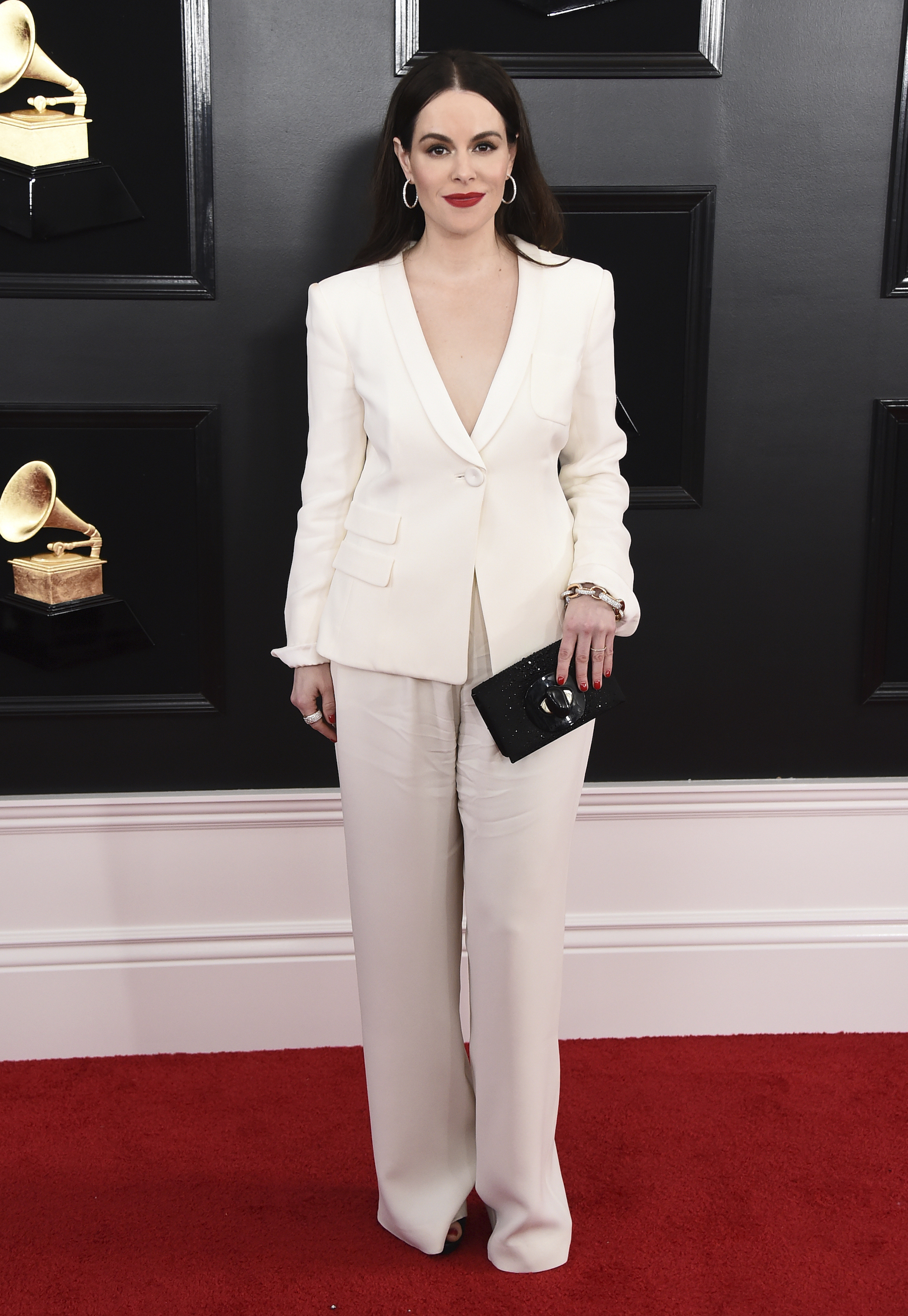 "<div class=""meta image-caption""><div class=""origin-logo origin-image ap""><span>AP</span></div><span class=""caption-text"">Emily Hampshire arrives at the 61st annual Grammy Awards at the Staples Center on Sunday, Feb. 10, 2019, in Los Angeles. (Jordan Strauss/Invision/AP)</span></div>"