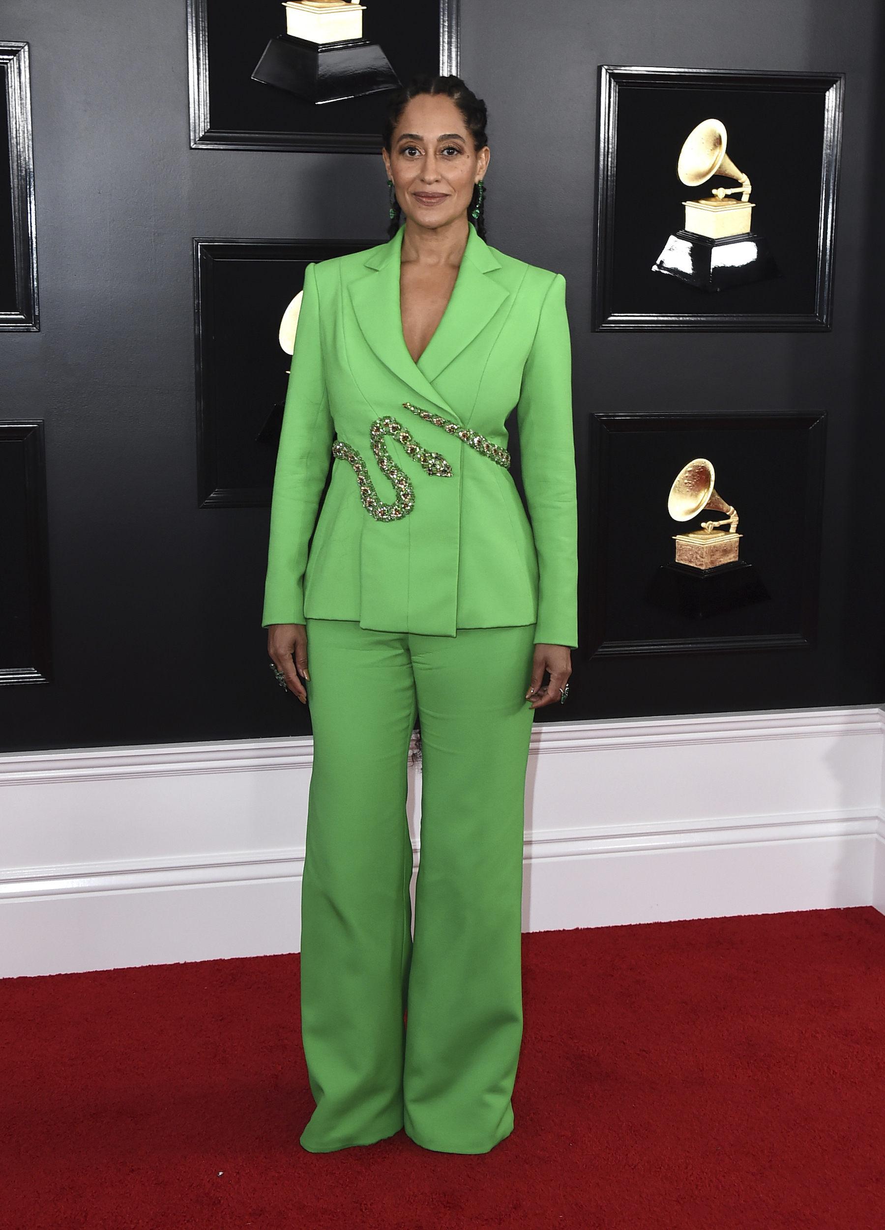 <div class='meta'><div class='origin-logo' data-origin='AP'></div><span class='caption-text' data-credit='Jordan Strauss/Invision/AP'>Tracee Ellis Ross arrives at the 61st annual Grammy Awards at the Staples Center on Sunday, Feb. 10, 2019, in Los Angeles.</span></div>