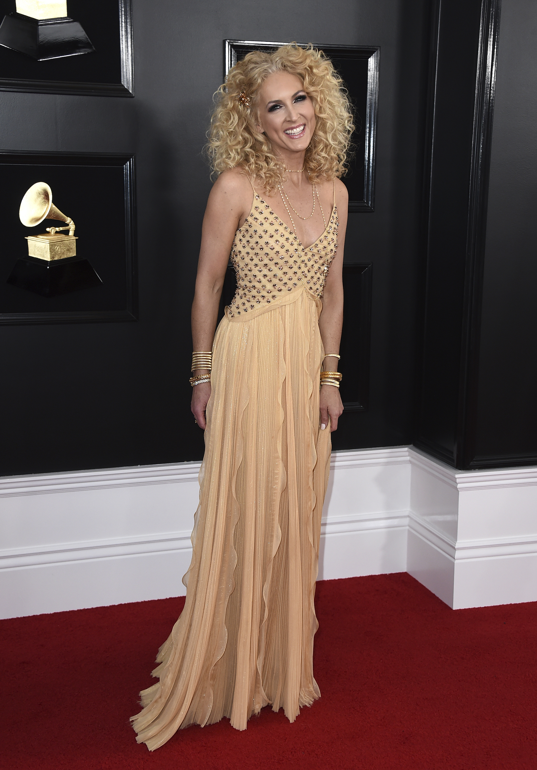 <div class='meta'><div class='origin-logo' data-origin='AP'></div><span class='caption-text' data-credit='Jordan Strauss/Invision/AP'>Kimberly Schlapman of Little Big Town arrives at the 61st annual Grammy Awards at the Staples Center on Sunday, Feb. 10, 2019, in Los Angeles.</span></div>