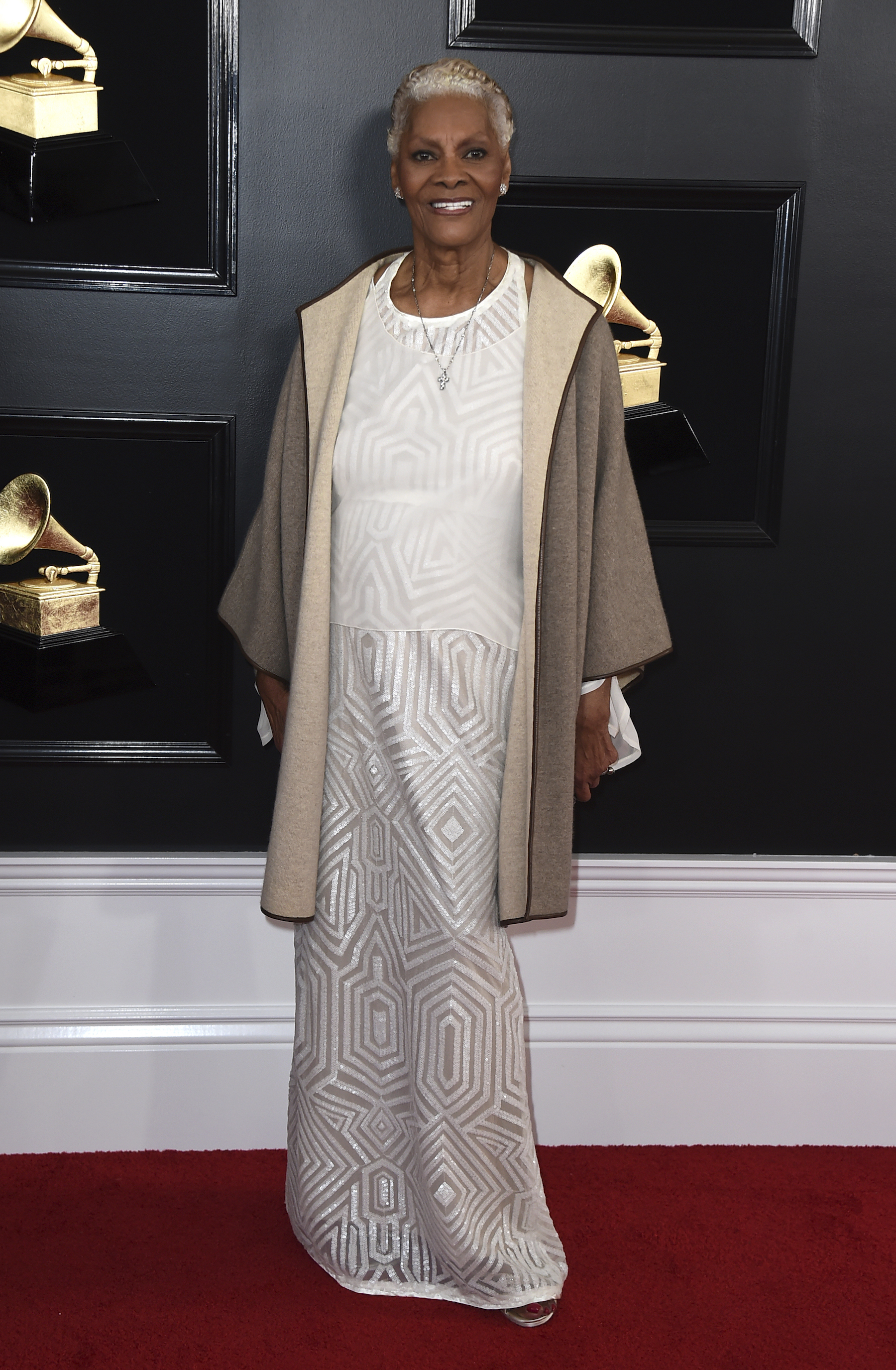 <div class='meta'><div class='origin-logo' data-origin='AP'></div><span class='caption-text' data-credit='Jordan Strauss/Invision/AP'>Dionne Warwick arrives at the 61st annual Grammy Awards at the Staples Center on Sunday, Feb. 10, 2019, in Los Angeles.</span></div>