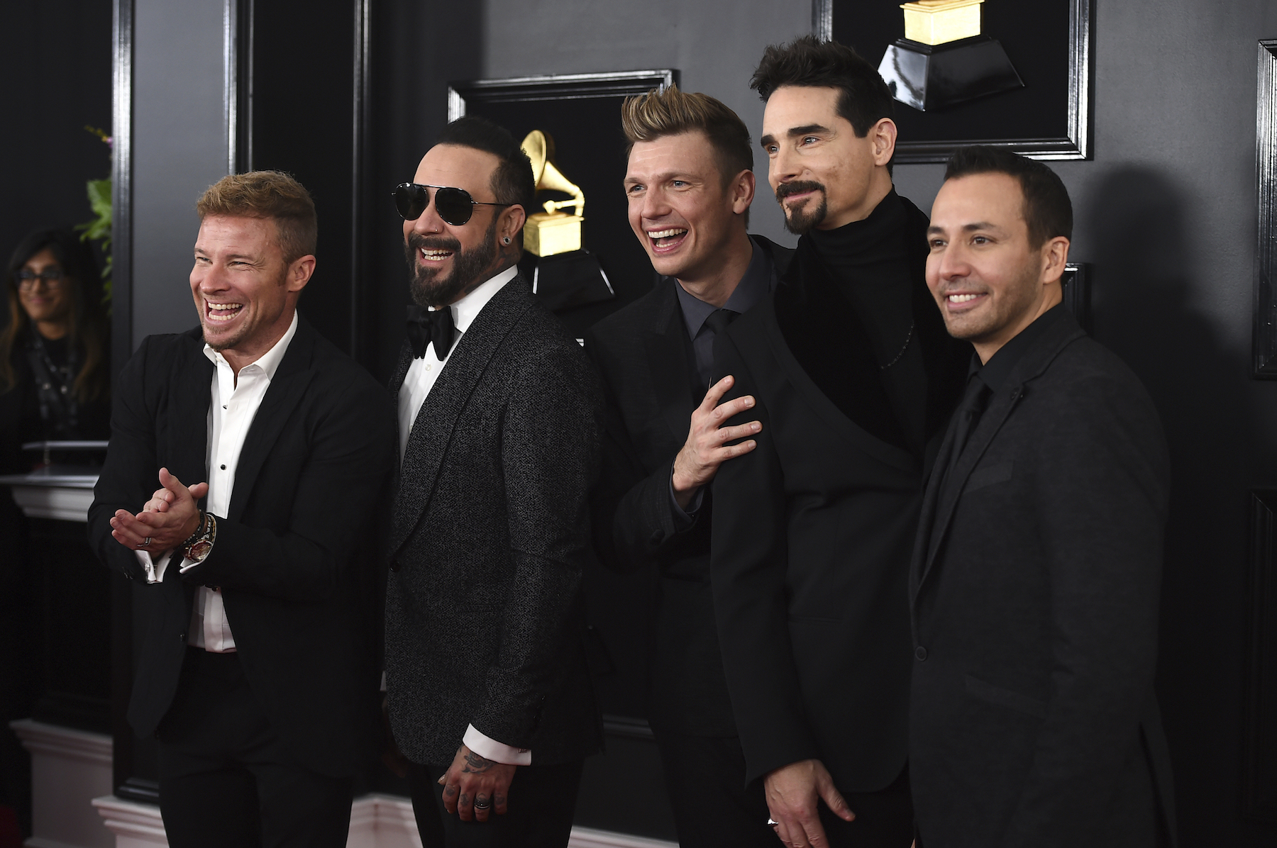 "<div class=""meta image-caption""><div class=""origin-logo origin-image ap""><span>AP</span></div><span class=""caption-text"">Brian Littrell, from left, AJ McLean, Nick Carter, Kevin Richardson, and Howie Dorough of The Backstreet Boys arrive at the 61st annual Grammy Awards. (Jordan Strauss/Invision/AP)</span></div>"