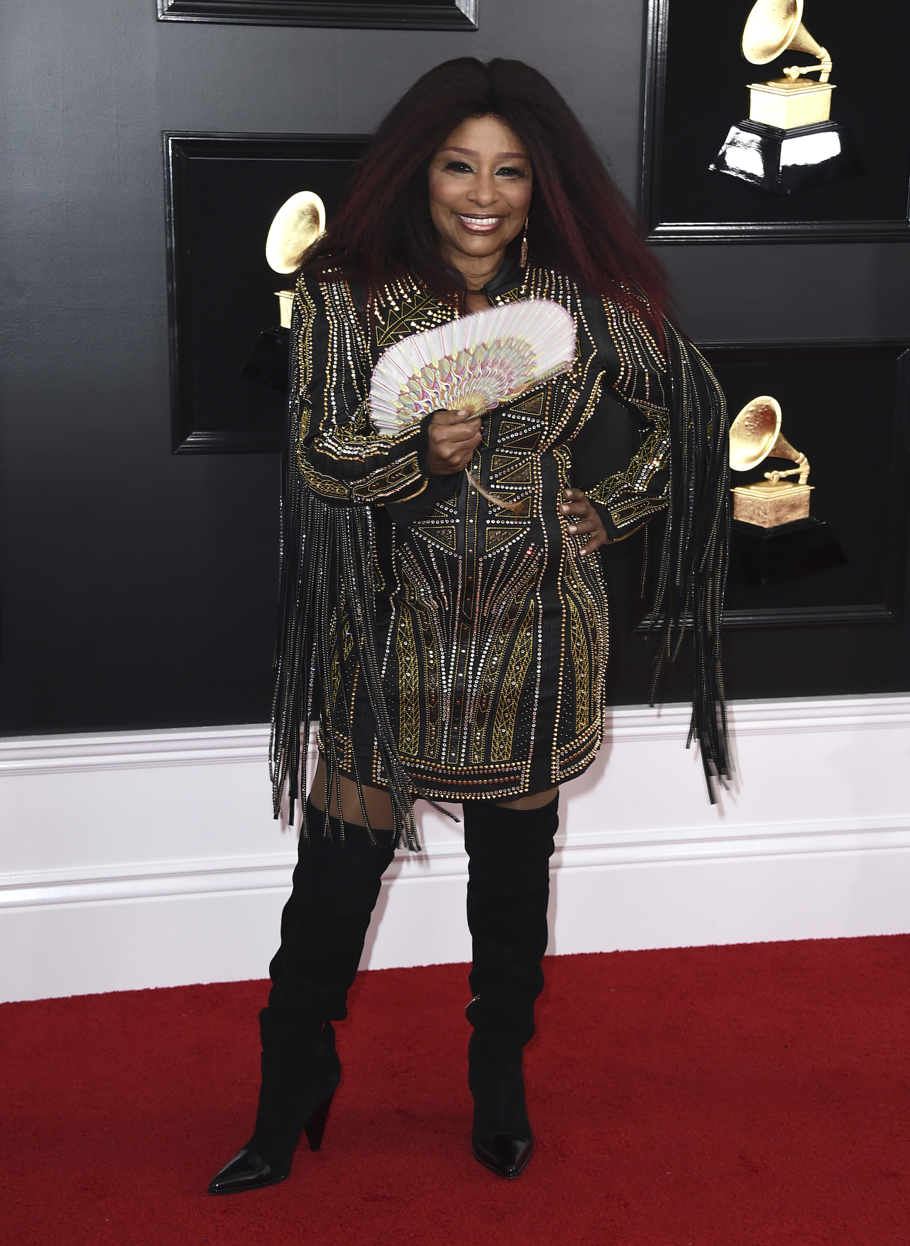 <div class='meta'><div class='origin-logo' data-origin='AP'></div><span class='caption-text' data-credit='Jordan Strauss/Invision/AP'>Chaka Khan arrives at the 61st annual Grammy Awards at the Staples Center on Sunday, Feb. 10, 2019, in Los Angeles.</span></div>