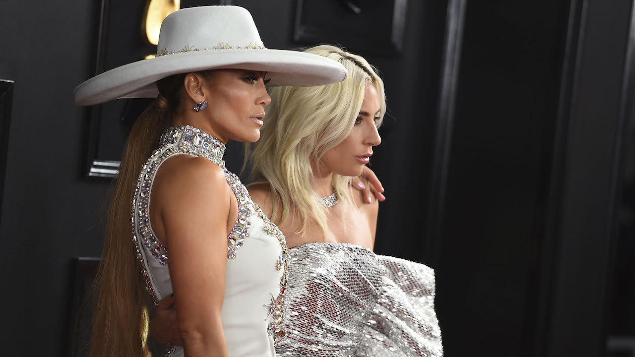 <div class='meta'><div class='origin-logo' data-origin='AP'></div><span class='caption-text' data-credit='Jordan Strauss/Invision/AP'>Jennifer Lopez, left, and Lady Gaga arrive at the 61st annual Grammy Awards at the Staples Center on Sunday, Feb. 10, 2019, in Los Angeles.</span></div>