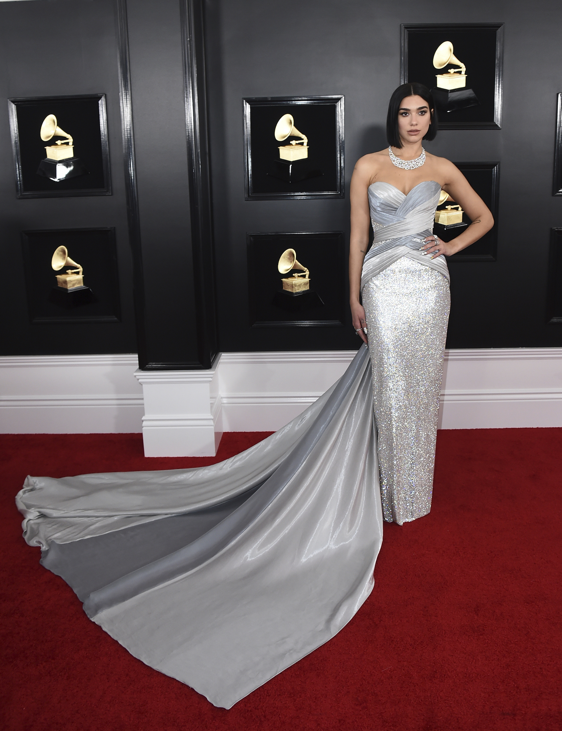 <div class='meta'><div class='origin-logo' data-origin='AP'></div><span class='caption-text' data-credit='Jordan Strauss/Invision/AP'>Dua Lipa arrives at the 61st annual Grammy Awards at the Staples Center on Sunday, Feb. 10, 2019, in Los Angeles.</span></div>