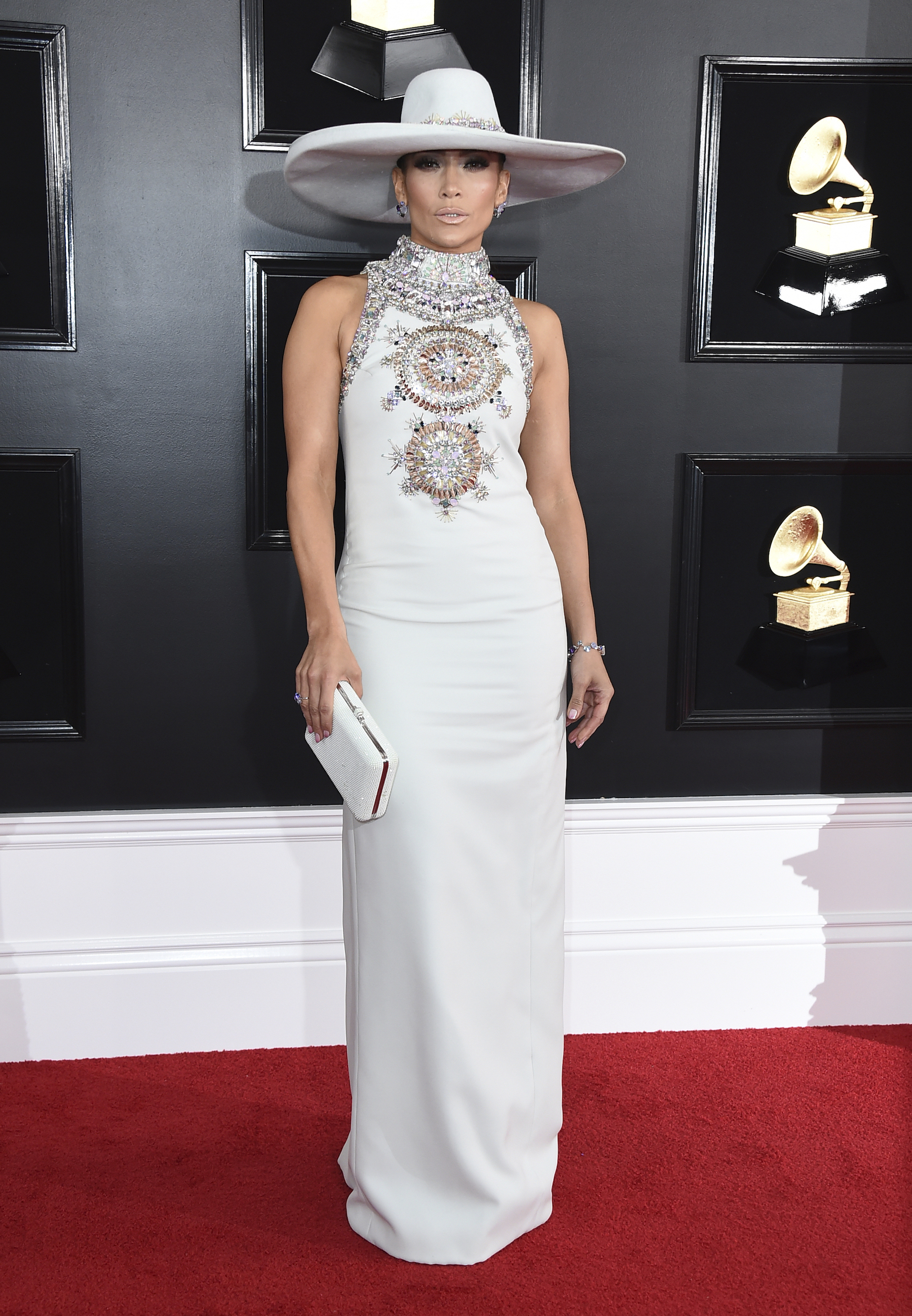 <div class='meta'><div class='origin-logo' data-origin='AP'></div><span class='caption-text' data-credit='Jordan Strauss/Invision/AP'>Jennifer Lopez arrives at the 61st annual Grammy Awards at the Staples Center on Sunday, Feb. 10, 2019, in Los Angeles.</span></div>