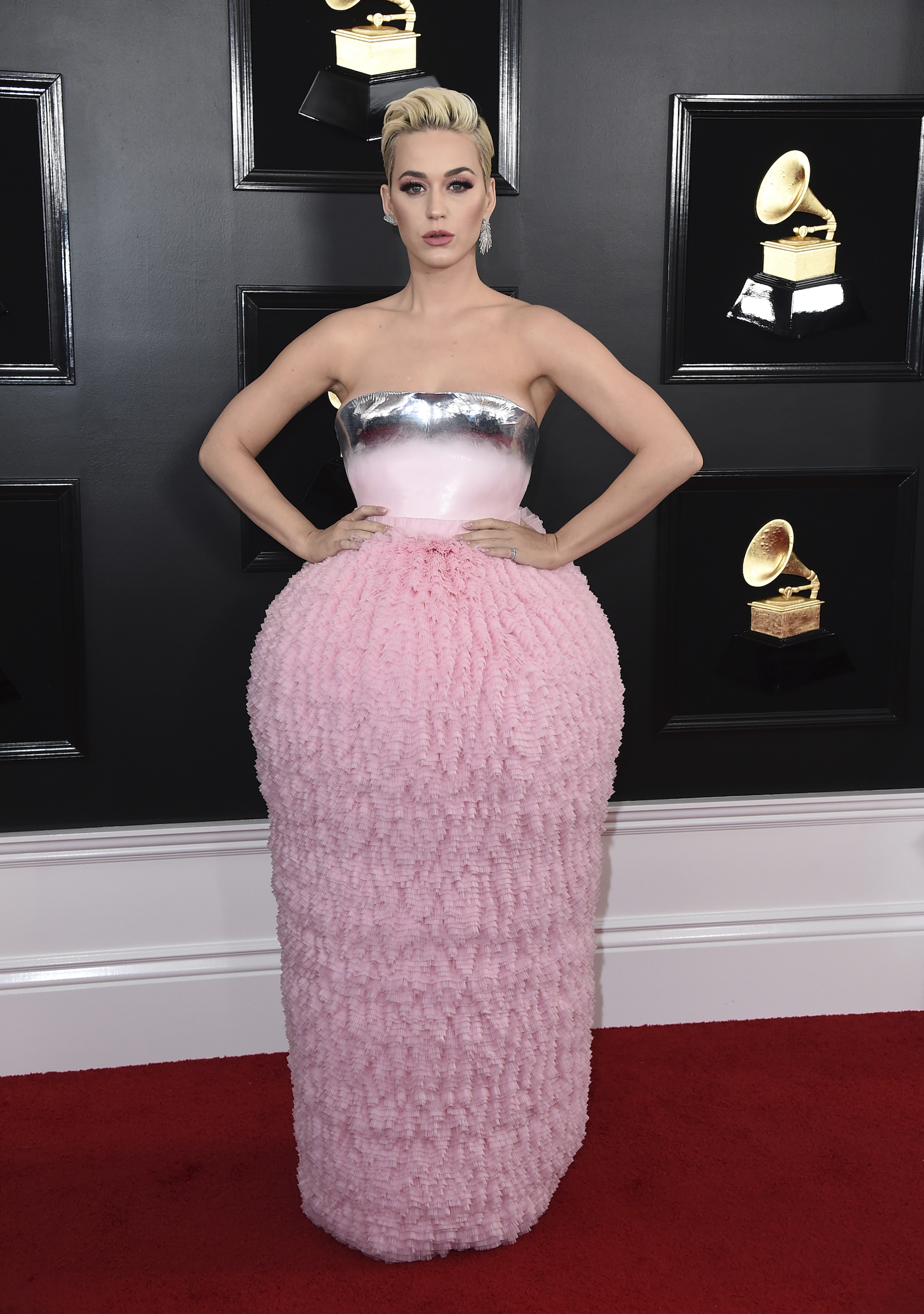 <div class='meta'><div class='origin-logo' data-origin='AP'></div><span class='caption-text' data-credit='Jordan Strauss/Invision/AP'>Katy Perry arrives at the 61st annual Grammy Awards at the Staples Center on Sunday, Feb. 10, 2019, in Los Angeles.</span></div>