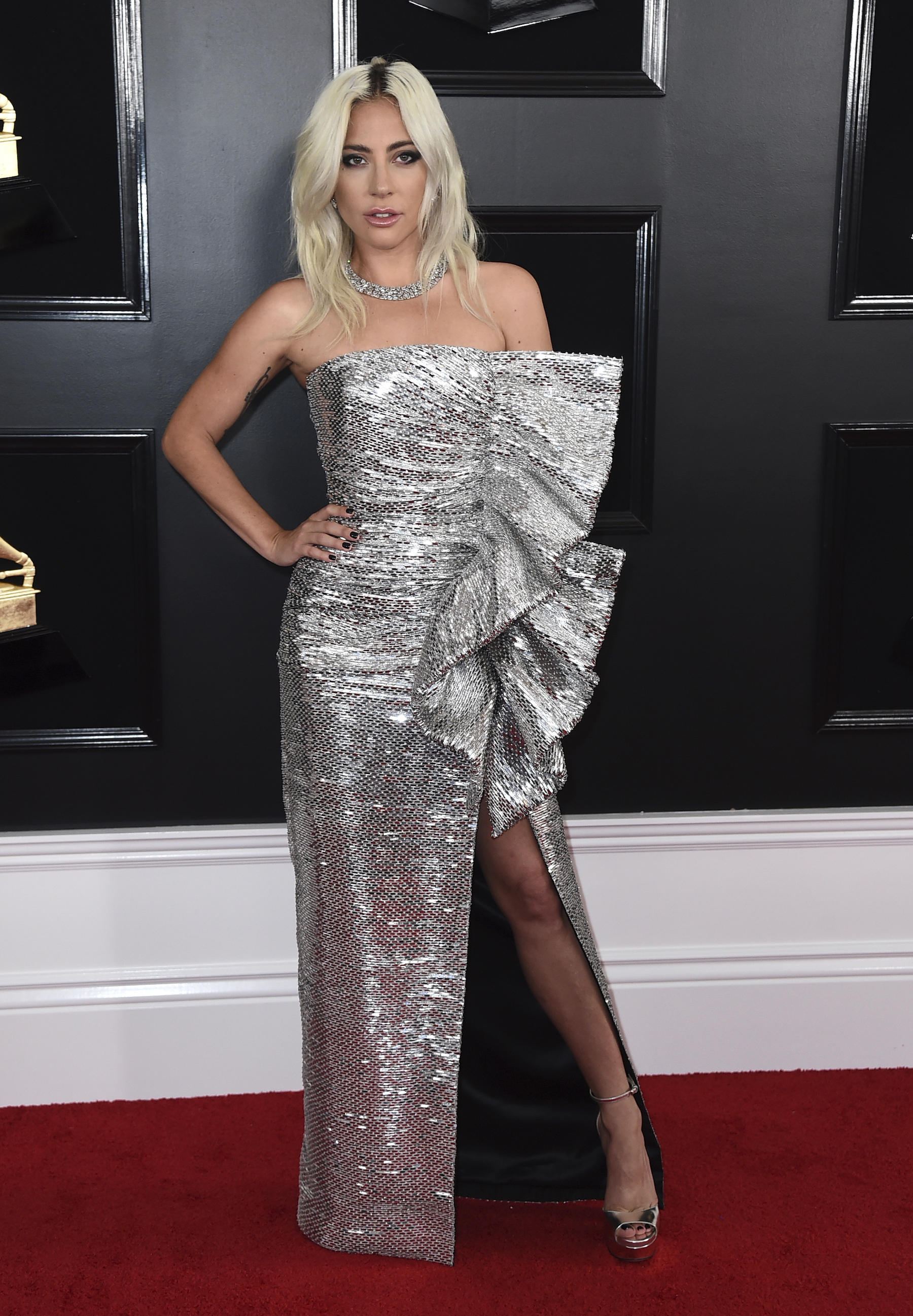 <div class='meta'><div class='origin-logo' data-origin='AP'></div><span class='caption-text' data-credit='Jordan Strauss/Invision/AP'>Lady Gaga arrives at the 61st annual Grammy Awards at the Staples Center on Sunday, Feb. 10, 2019, in Los Angeles.</span></div>