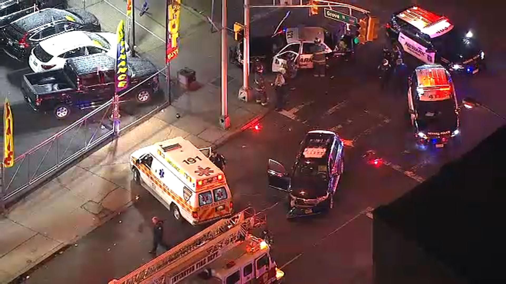 2 officers, 1 civilian hurt when Newark police cruiser crashes in Irvington