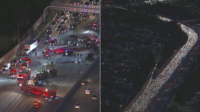 EB 118 Freeway closed in Granada Hills due to big rig crash