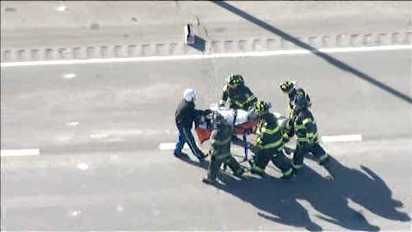 """<div class=""""meta image-caption""""><div class=""""origin-logo origin-image none""""><span>none</span></div><span class=""""caption-text"""">Police and firefighters worked to extricate two people from a van after an accident that shut down part of a Route 3 in New Jersey Wednesday.</span></div>"""