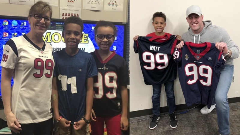 sports shoes e7425 9d7ba JJ Watt gifts jersey to boy who wore homemade one to school