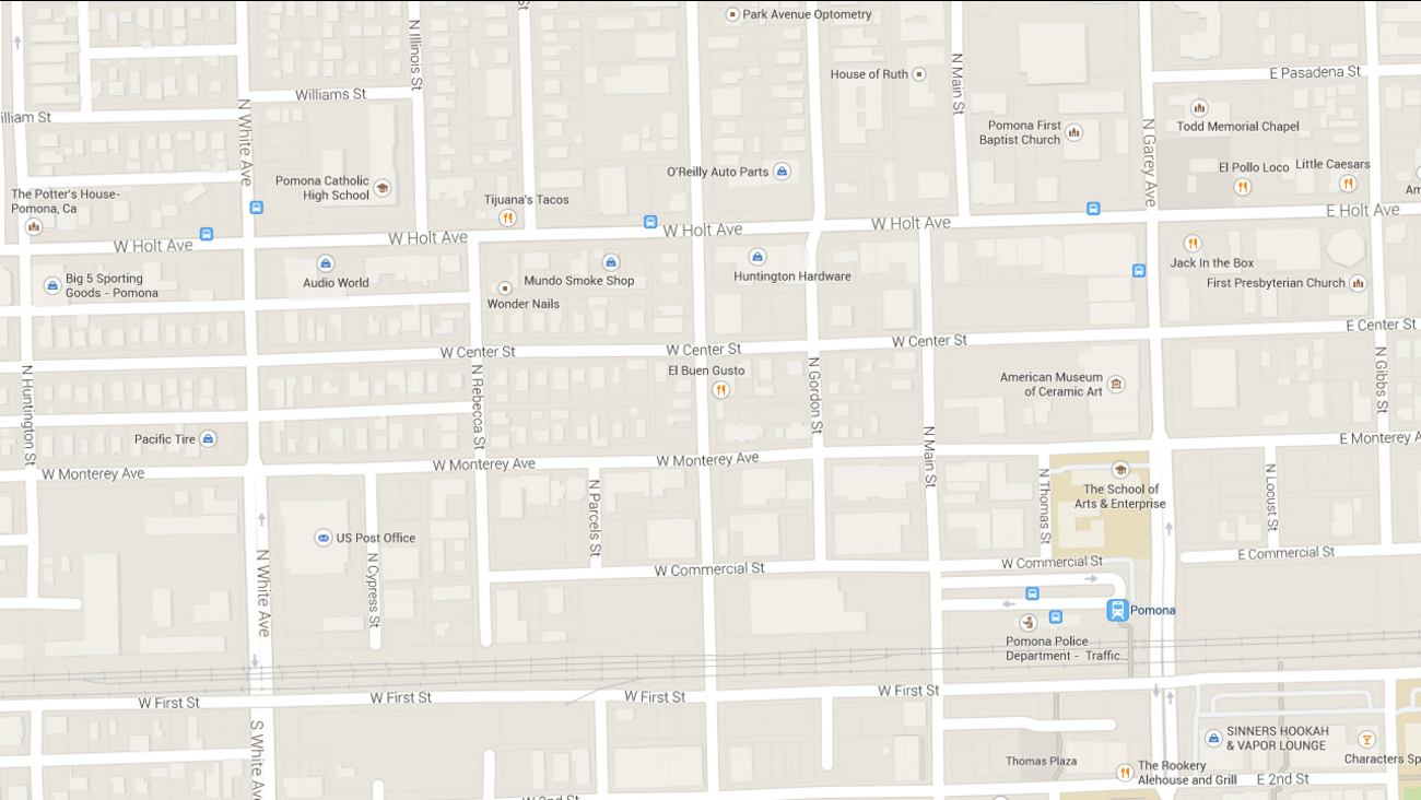 This Google Maps shows the area where a person was stabbed in Pomona on Wednesday, Feb. 11, 2015.
