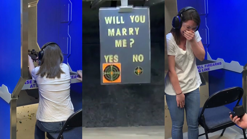 'Will you marry me? Shoot yes or no'