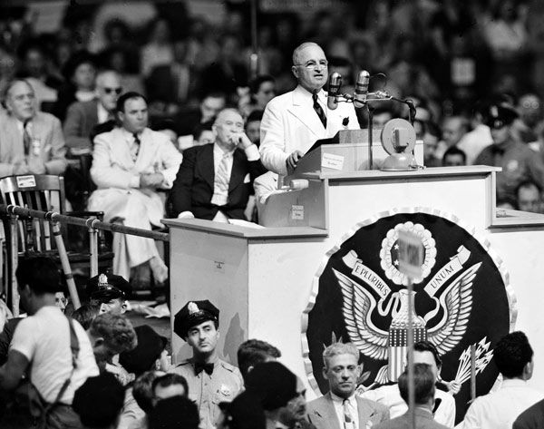 "<div class=""meta image-caption""><div class=""origin-logo origin-image none""><span>none</span></div><span class=""caption-text"">President Harry S. Truman is shown during his acceptance speech at the Democratic National Convention in Philadelphia, July 15, 1948. (AP Photo)</span></div>"
