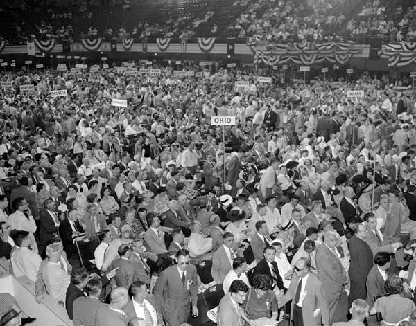 "<div class=""meta image-caption""><div class=""origin-logo origin-image none""><span>none</span></div><span class=""caption-text"">The main floor of Convention Hall fills up at the midway point during the opening session of the 1948 Democratic National Convention in Philadelphia, Pennsylvania, July 12, 1948. (AP Photo)</span></div>"